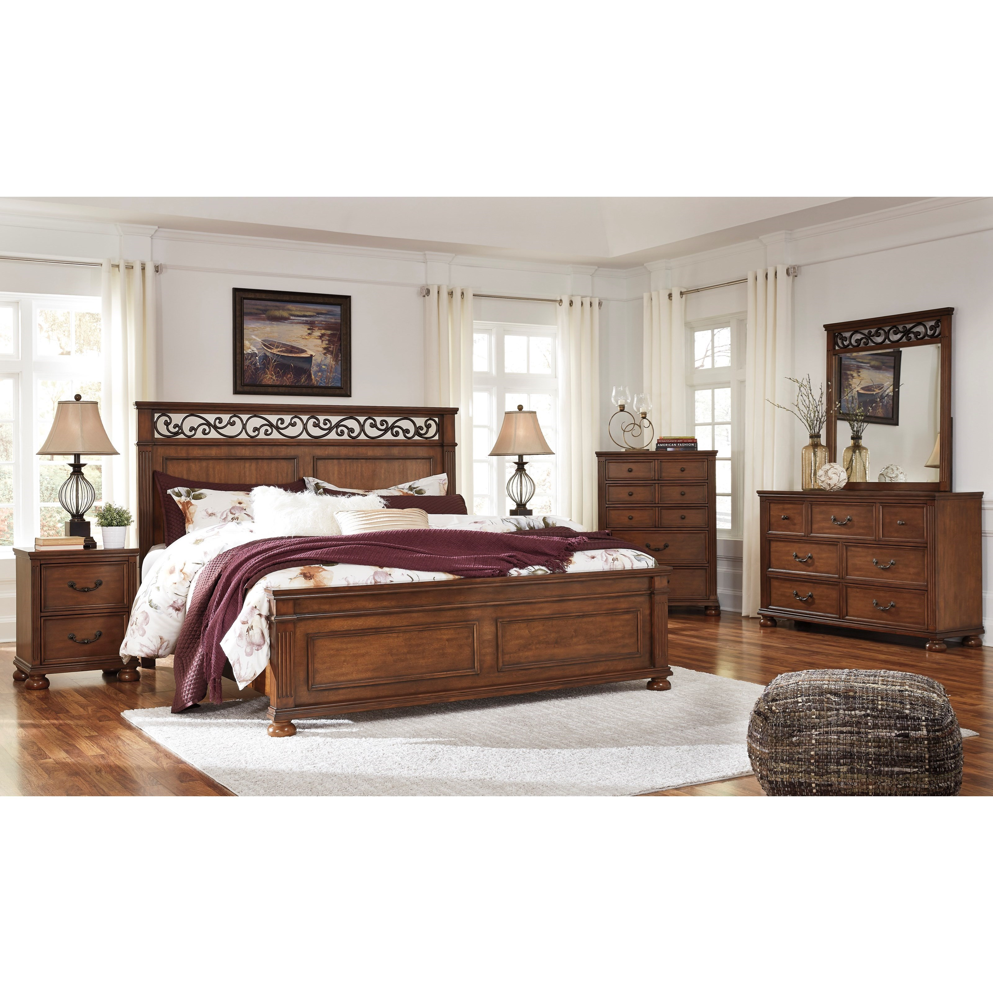 Signature design by ashley lazzene queen bedroom group for Bedroom groups