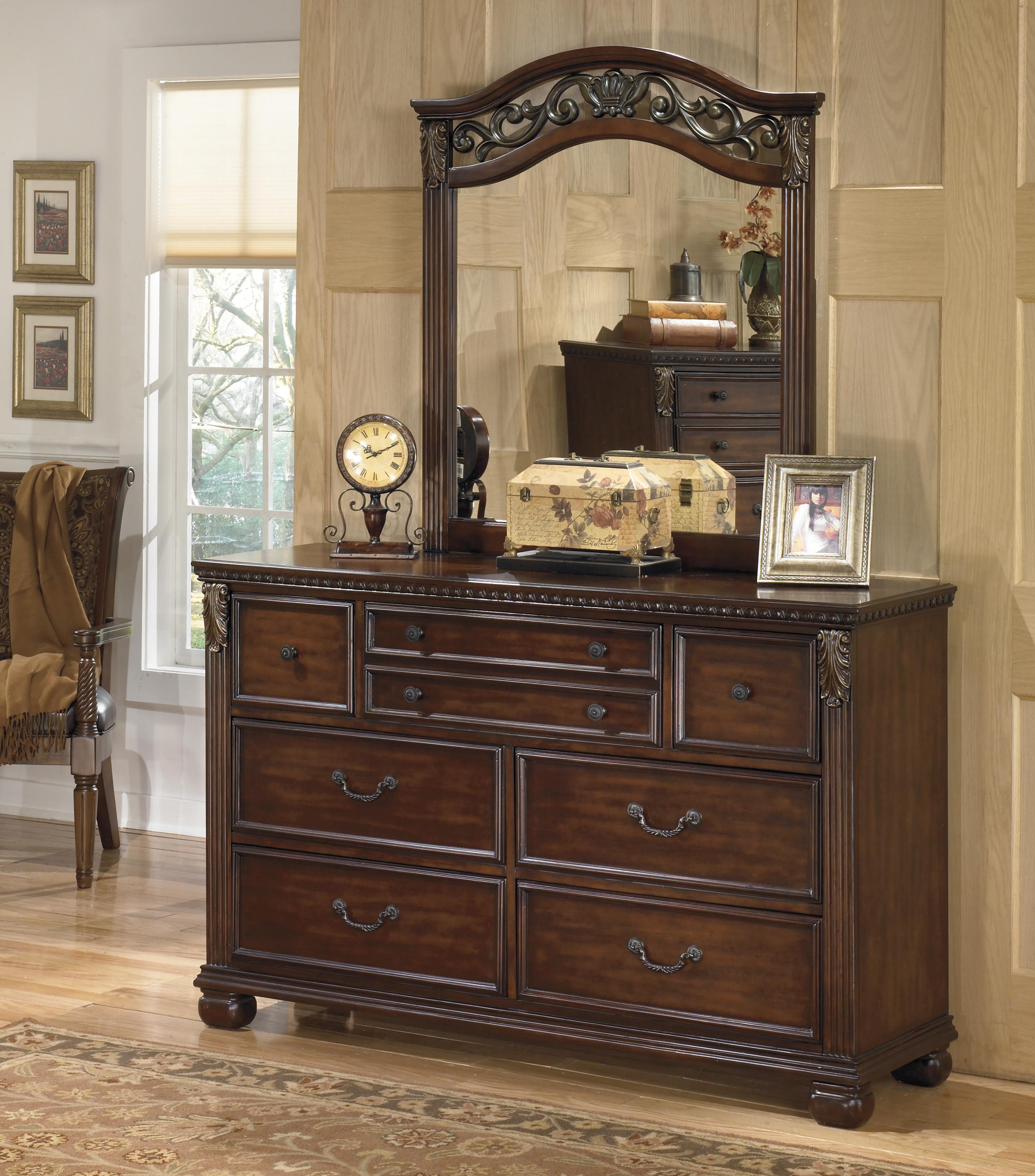 Signature design by ashley leahlyn traditional beveled for Bedroom furniture 37027