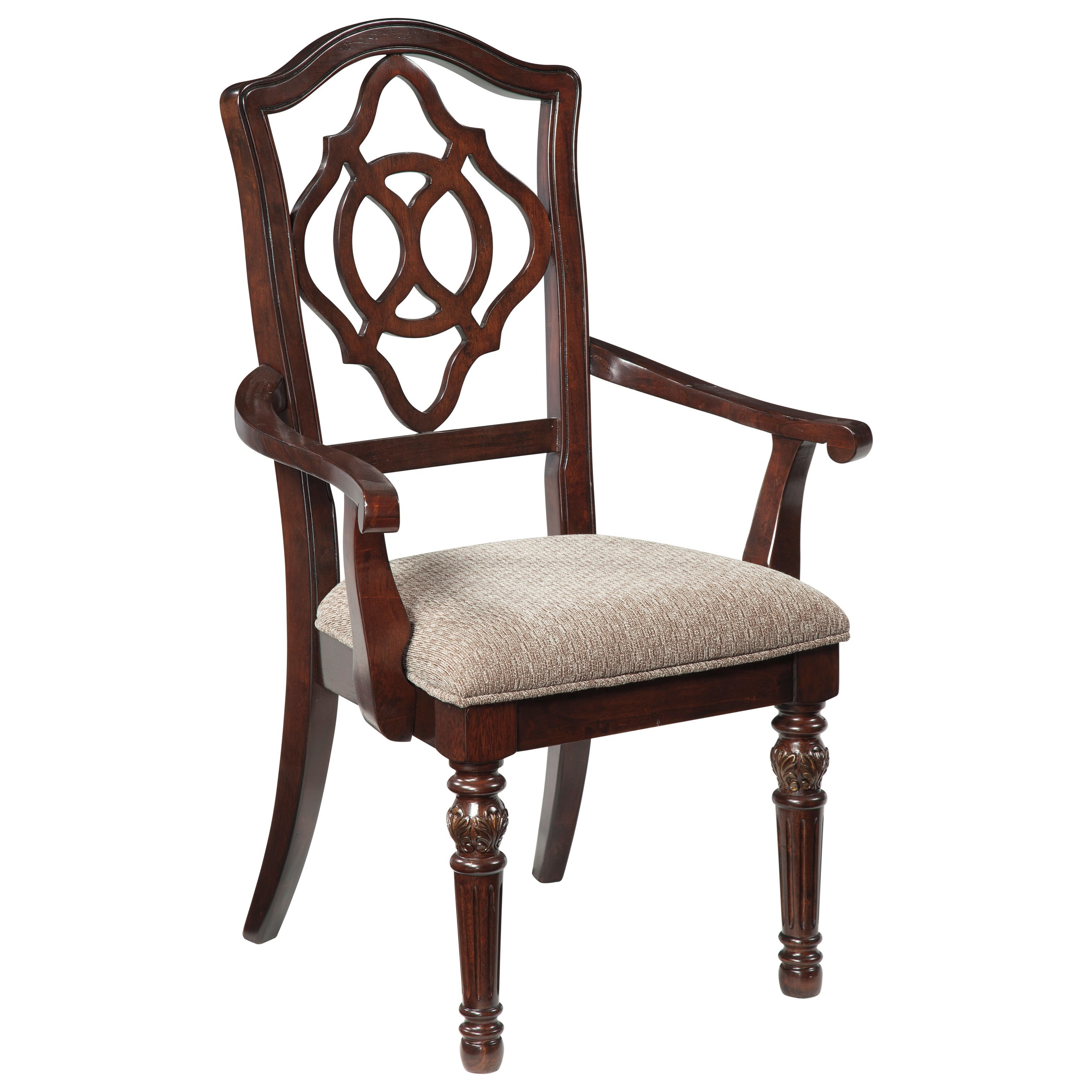 Signature design by ashley leahlyn traditional dining for Upholstered arm dining chairs