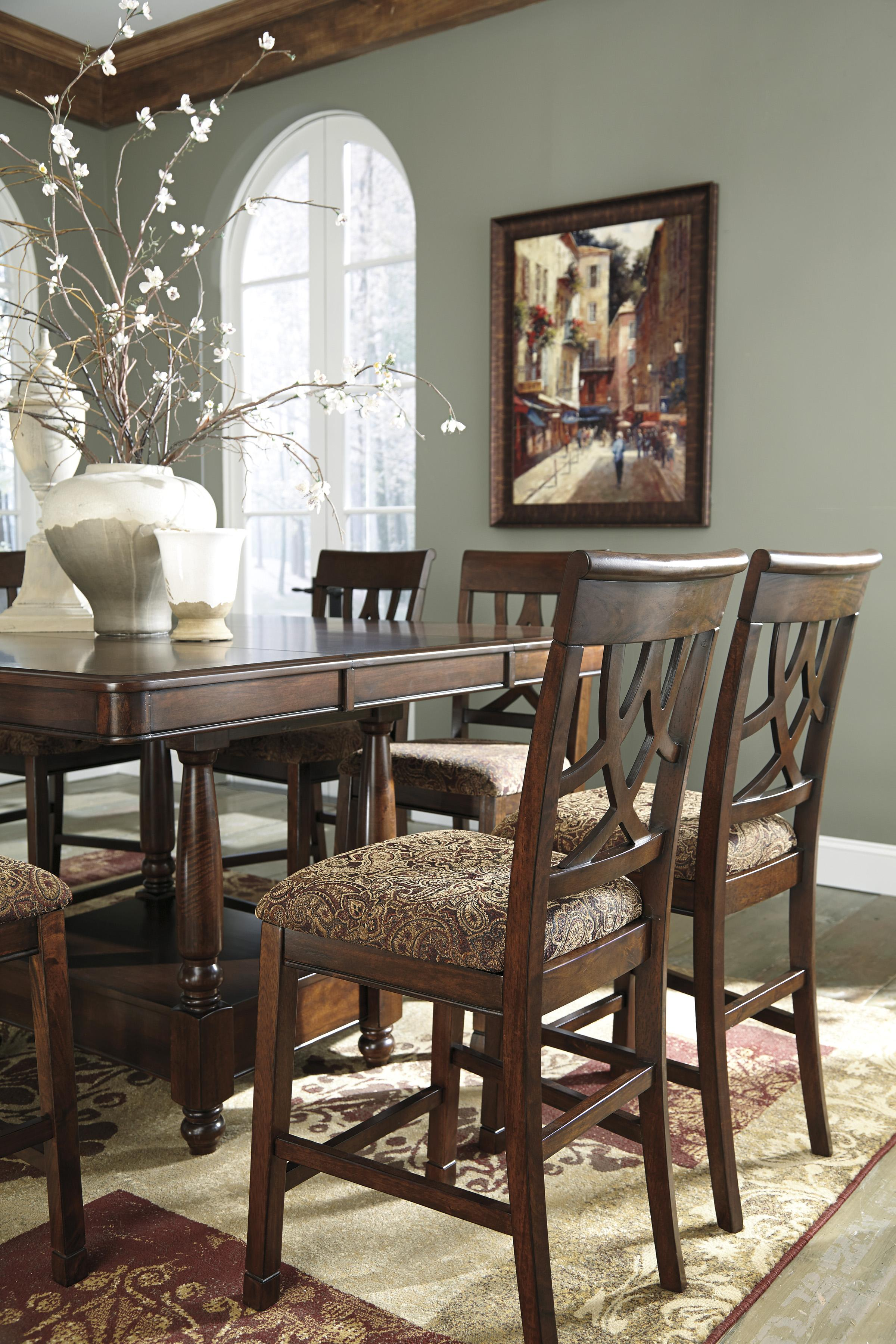 Ashley signature design leahlyn d436 124 cherry finish for Furniture 124