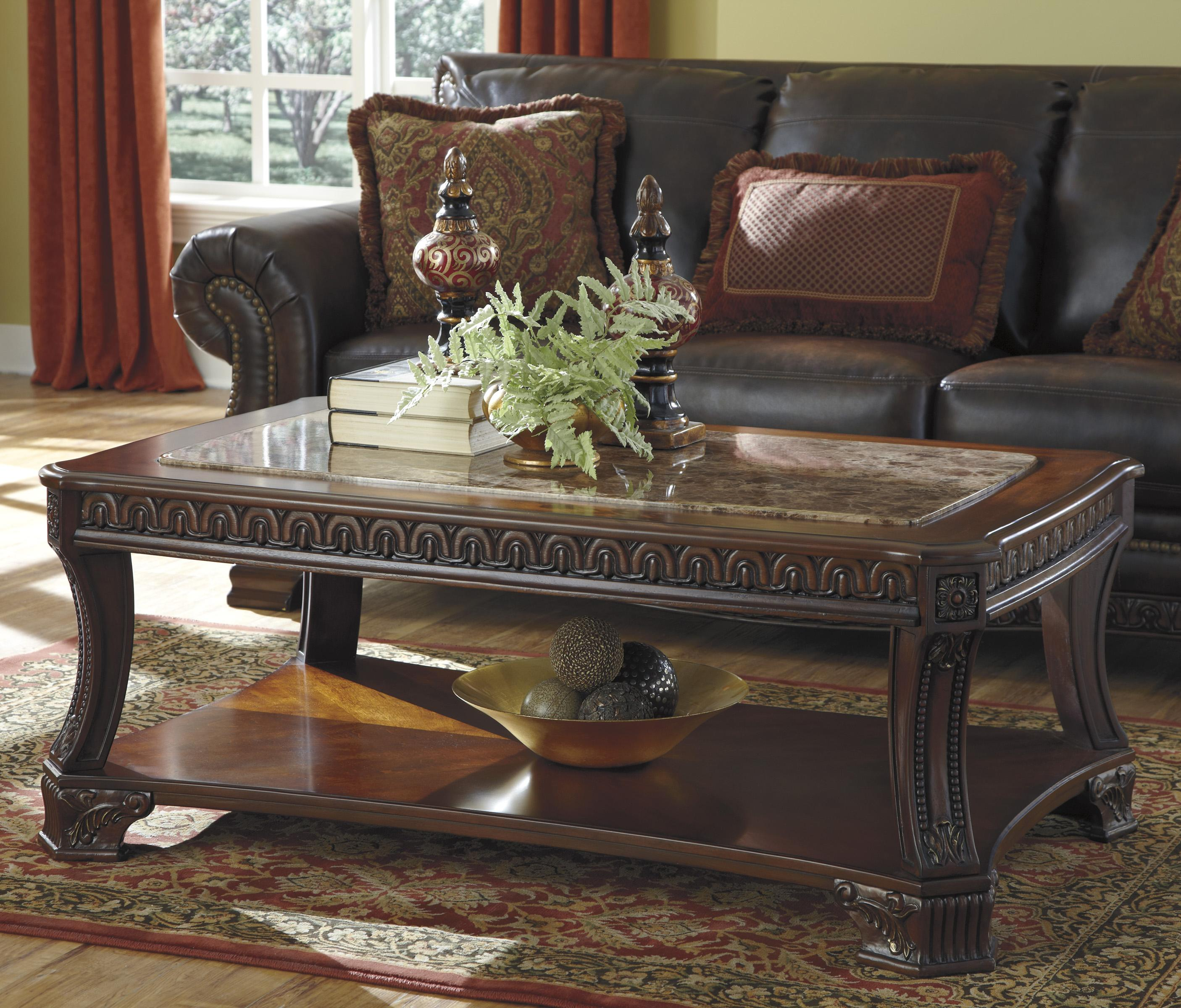 Signature design by ashley ledelle old world rectangular for Square marble top coffee table