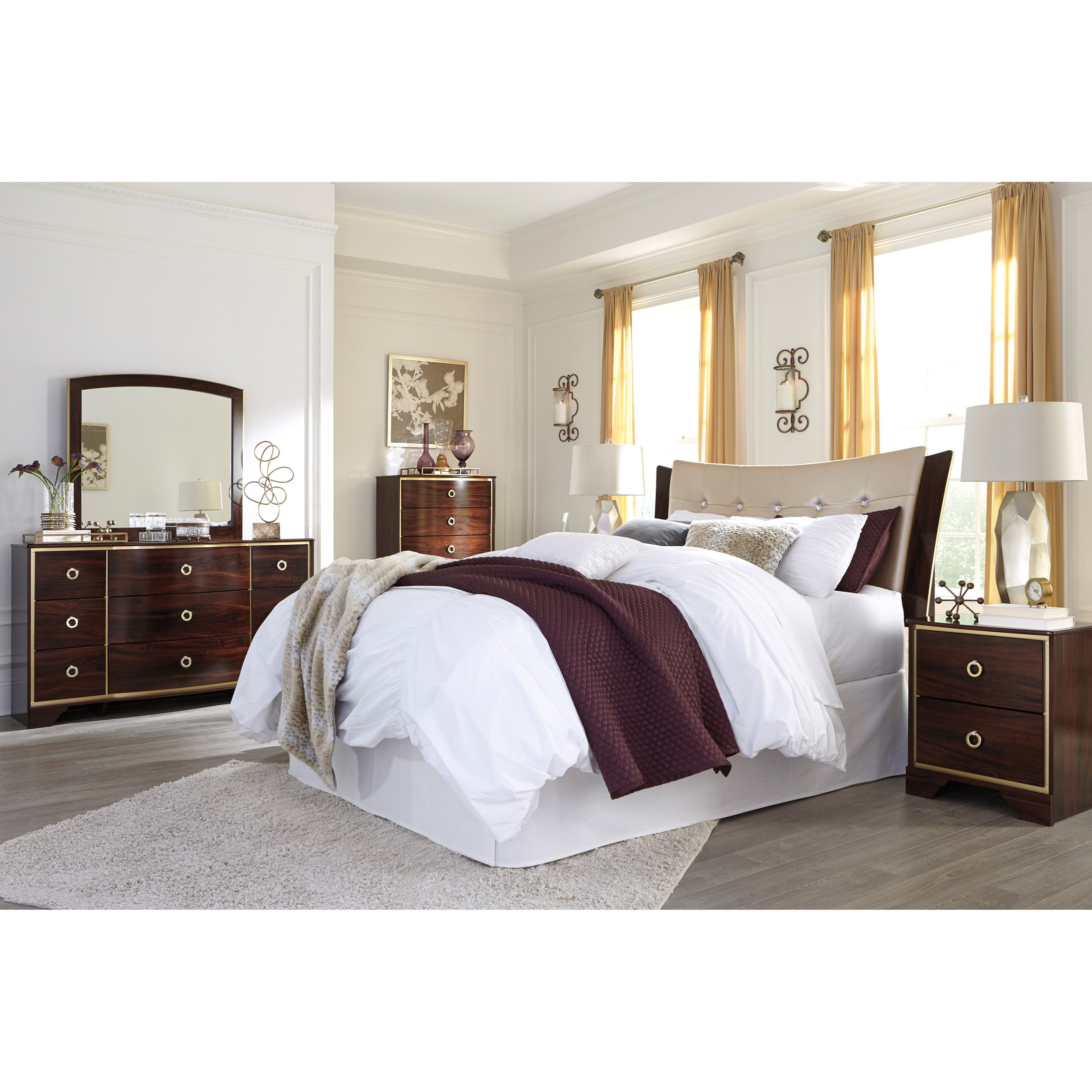 Signature design by ashley lenmara queen full bedroom for Bedroom furniture groups