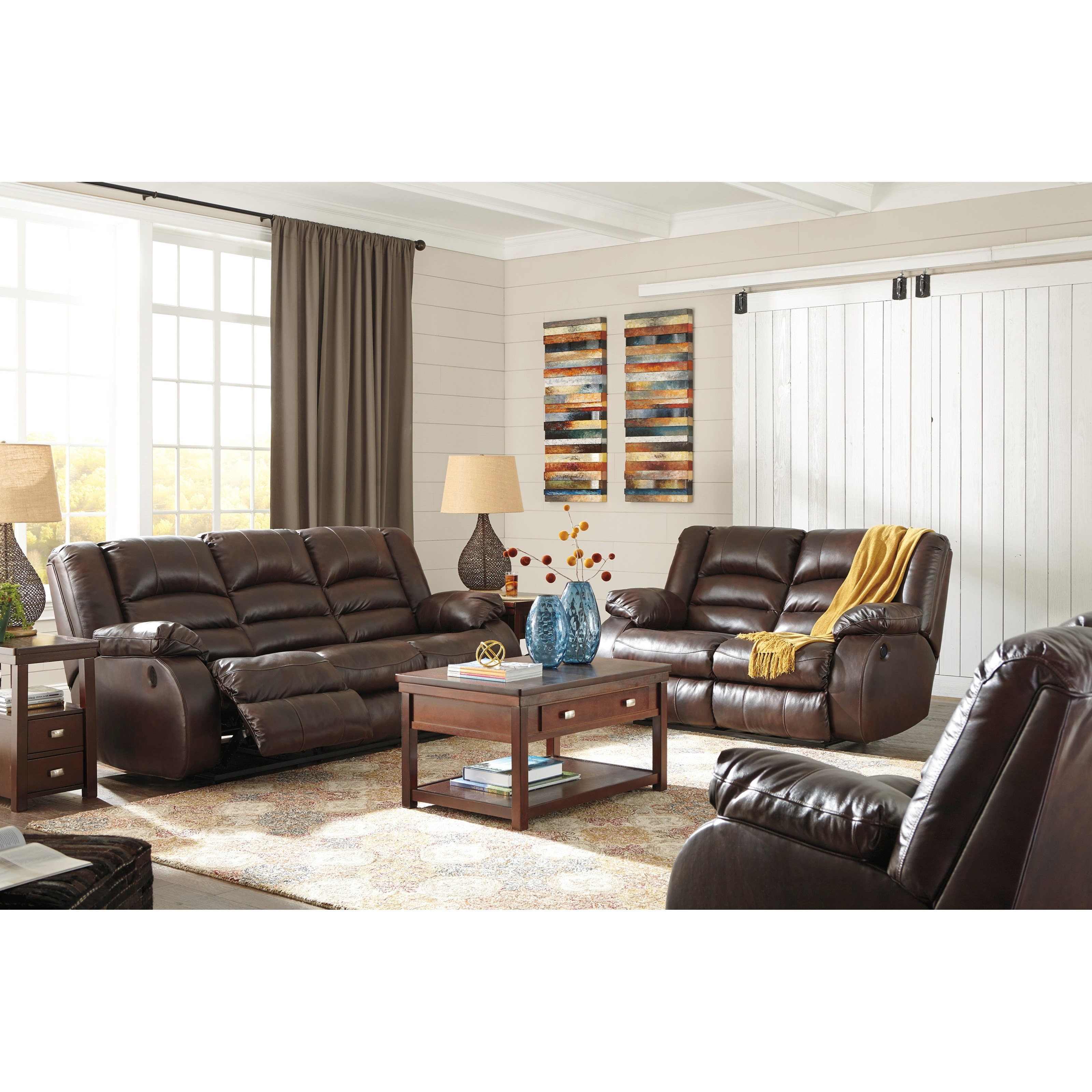 Signature Design By Ashley Levelland Reclining Living Room Group Rotmans Reclining Living