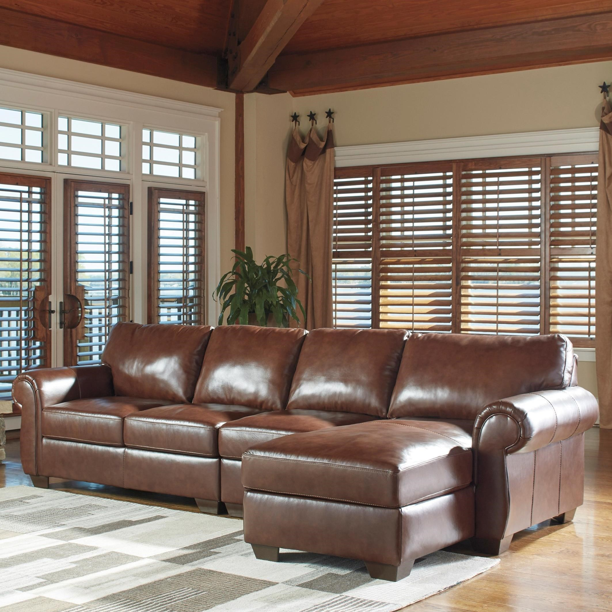 Signature Design By Ashley Lugoro Leather Match 3 Piece Sectional With Right Chaise Value City
