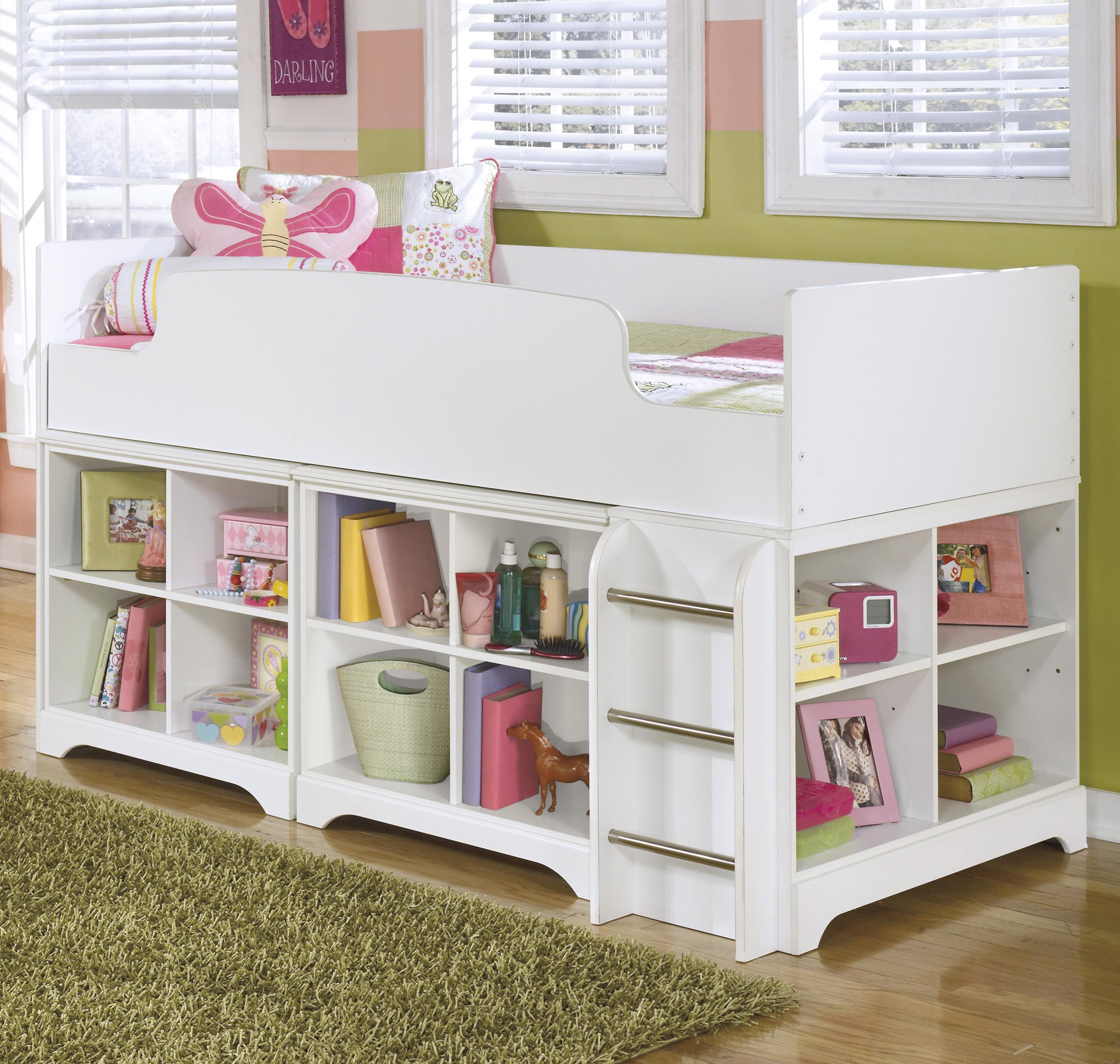 Signature design by ashley lulu twin loft bed with loft for Loft storage
