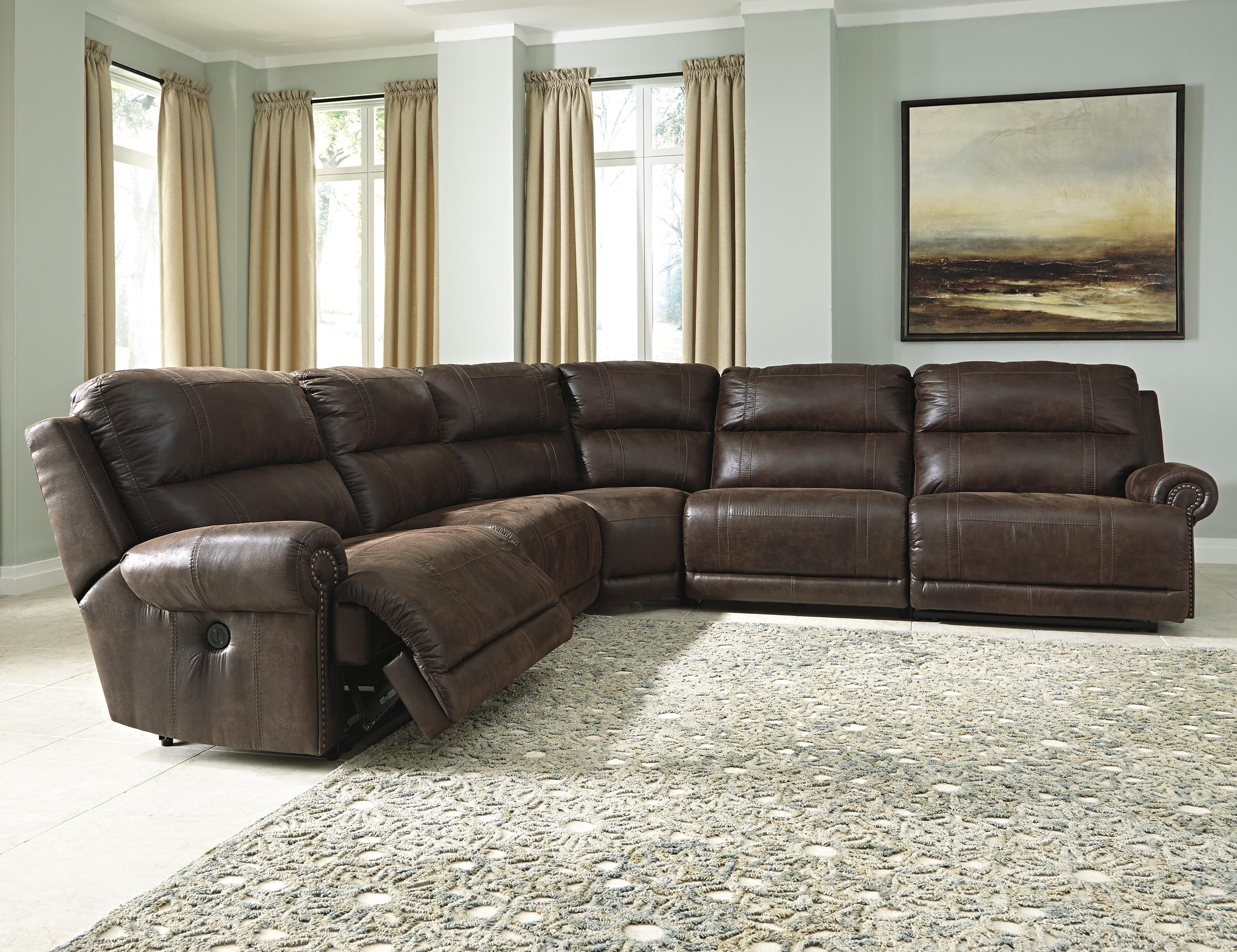 Ashley signature design luttrell 5 piece faux leather for 5 piece reclining sectional sofa