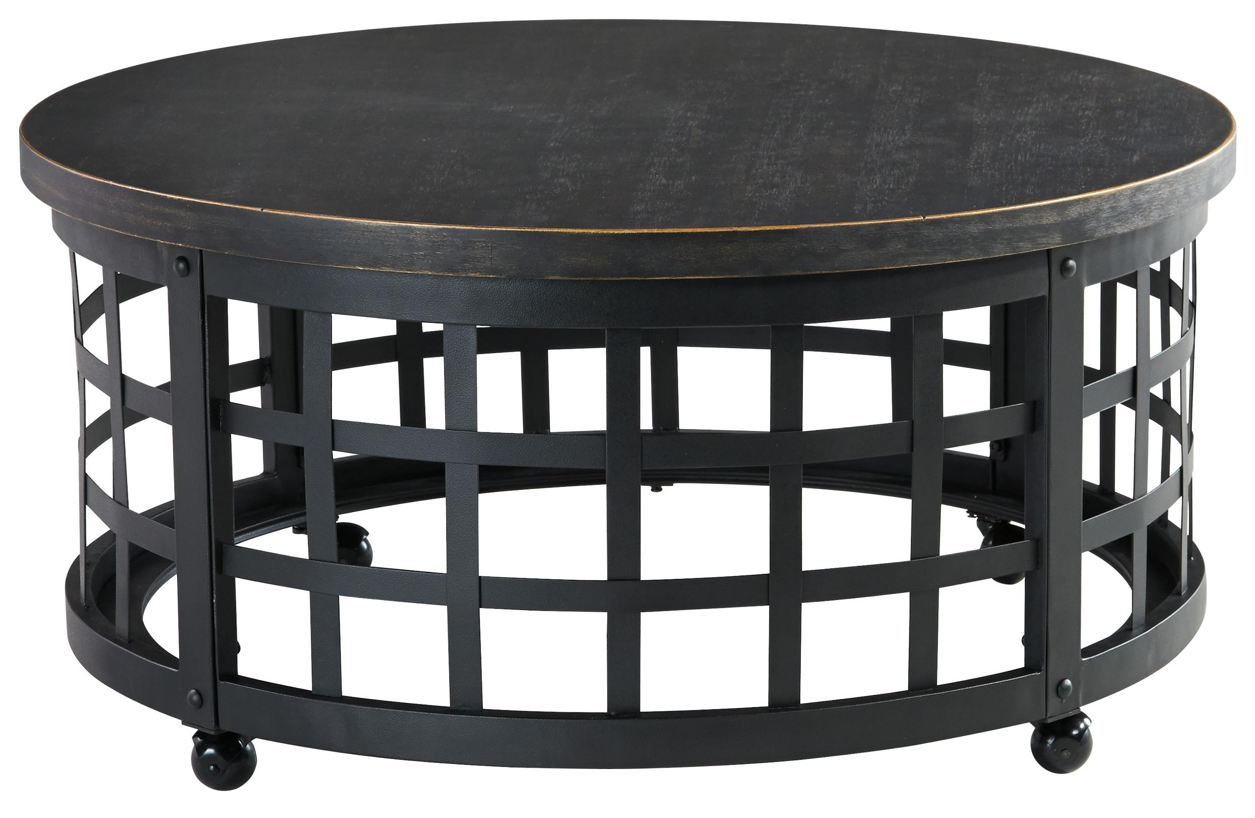 Signature Design By Ashley Marimon T746 8 Industrial Style Round Cocktail Table With Casters