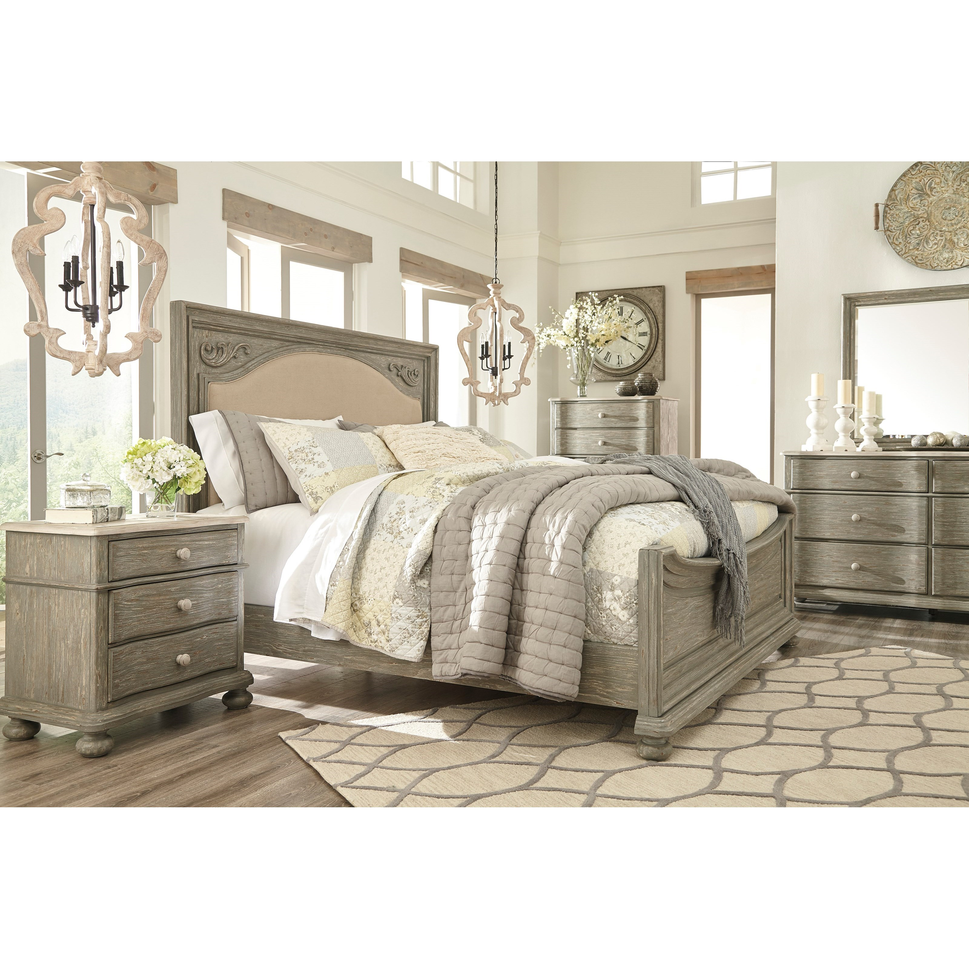 Signature Design By Ashley Queen Upholstered Bed In Gray