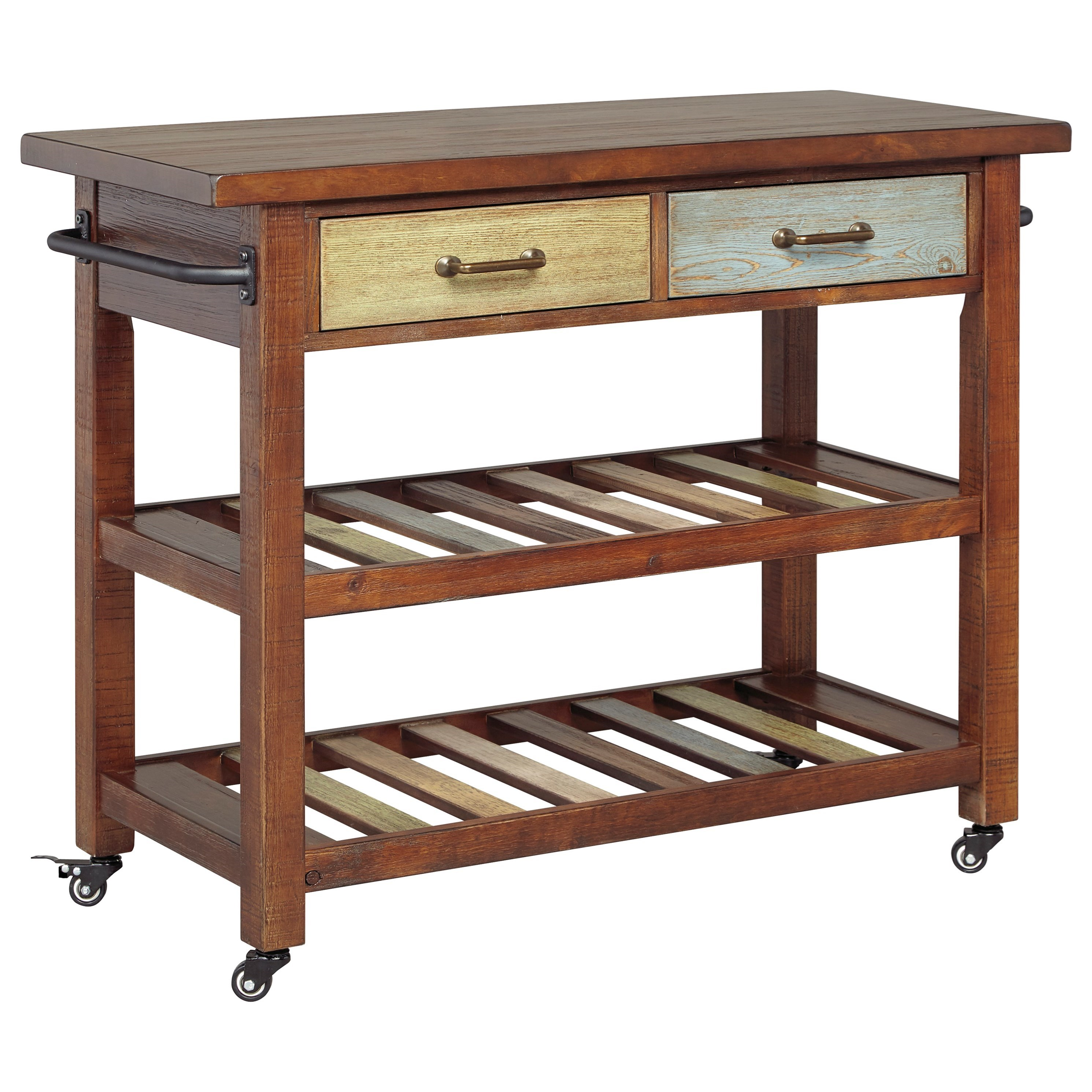 Signature Design By Ashley Marlijo Multicolor Kitchen Cart With Locking Casters Miskelly