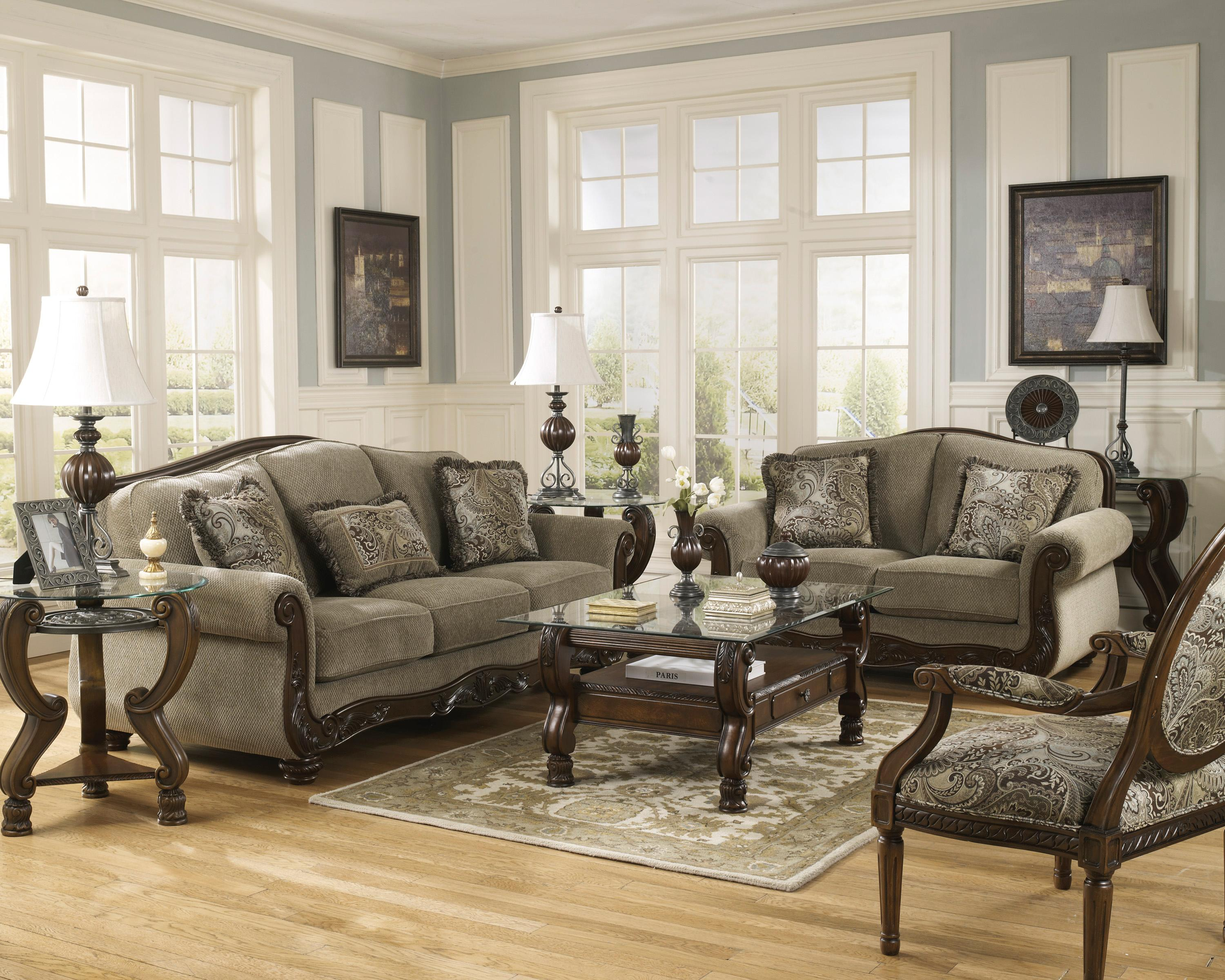 Ashley Signature Design Martinsburg Meadow Stationary Living Room Group Dunk Bright
