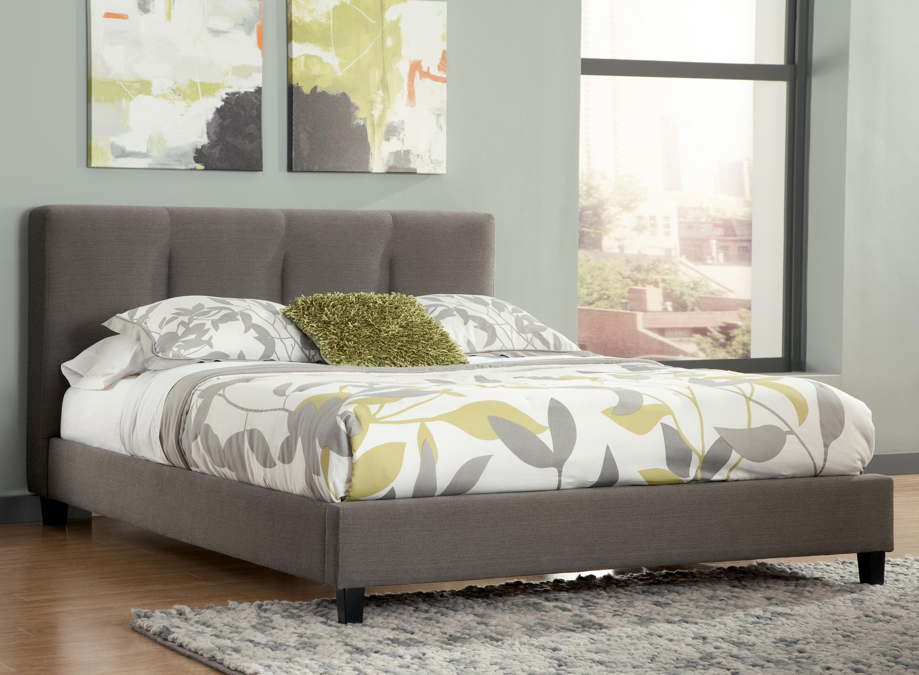 Signature design by ashley masterton queen upholstered for Platform bed with upholstered headboard
