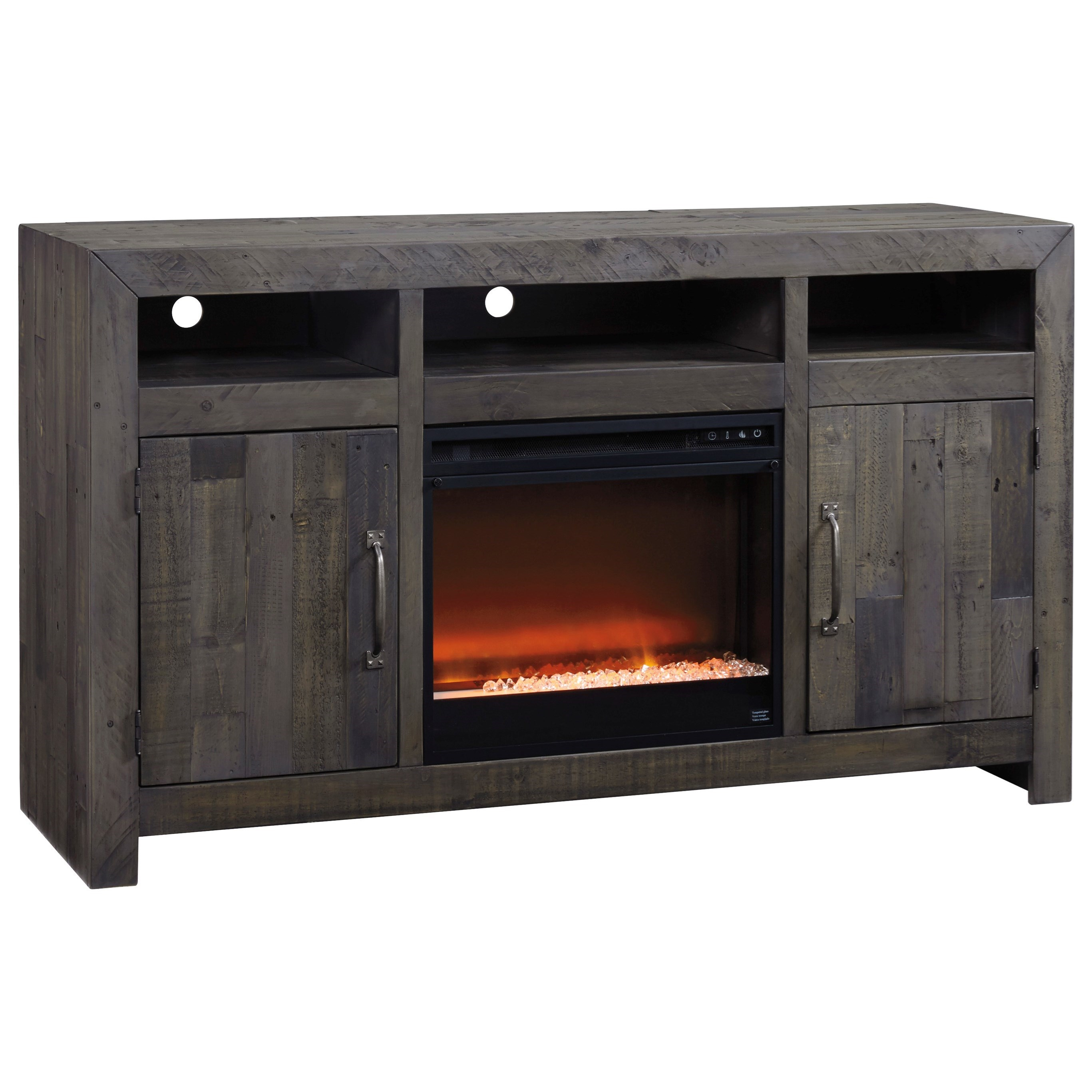 Signature design by ashley mayflyn reclaimed solid wood for Contemporary wood fireplace insert