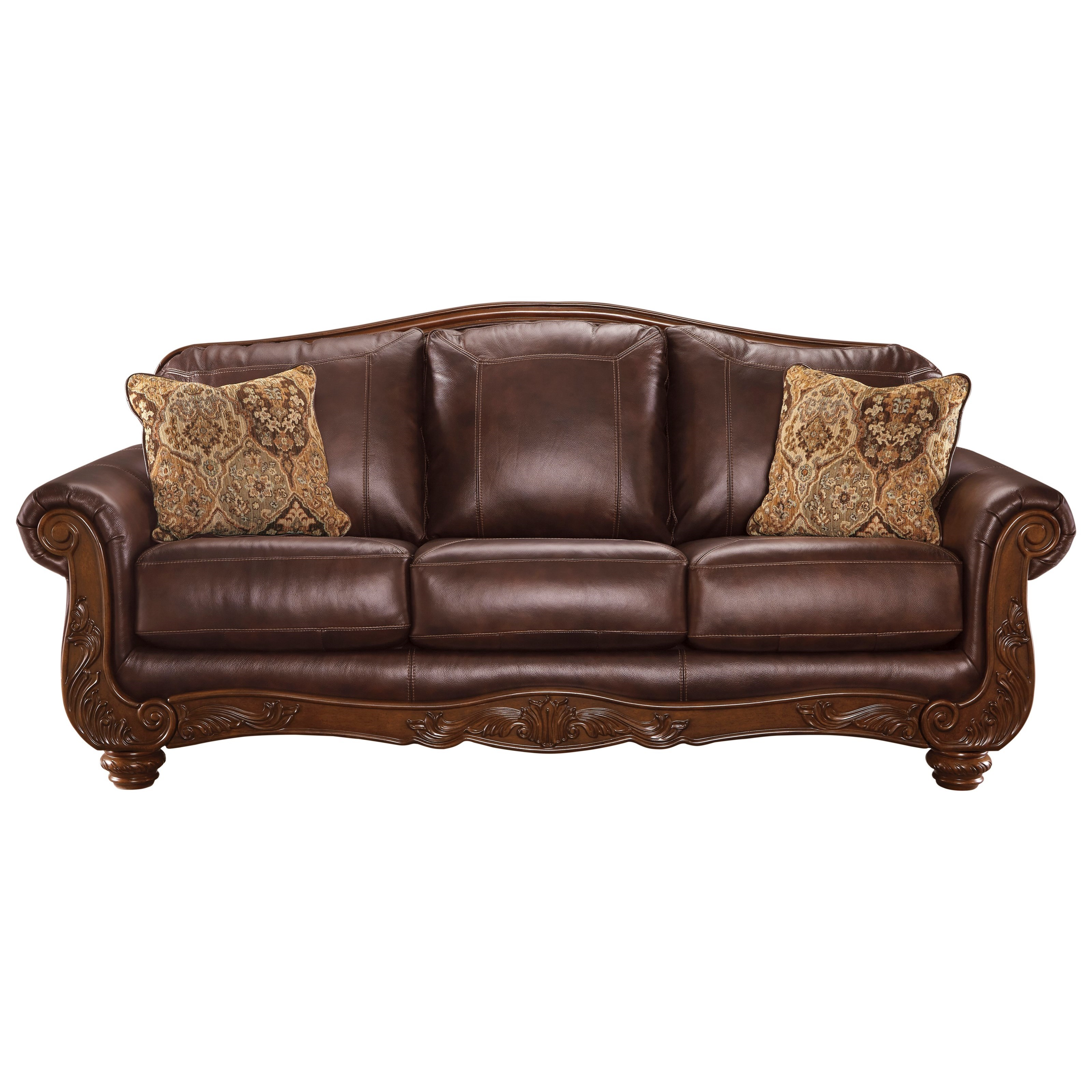 Ashley signature design mellwood 6460538 traditional for Traditional leather sofas furniture