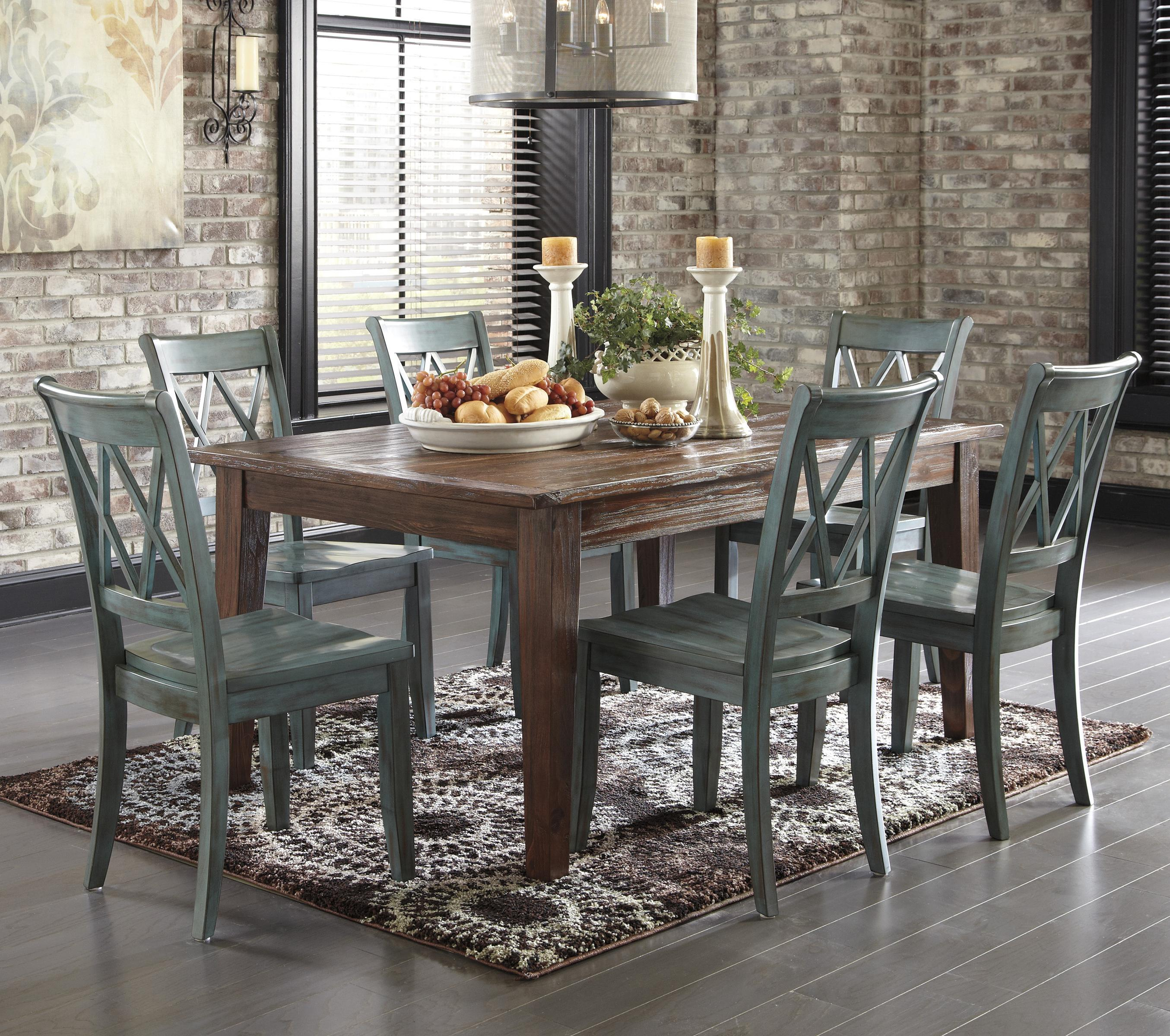 Ashley Signature Design Mestler 7 Piece Table Set With Antique Blue Green Sid