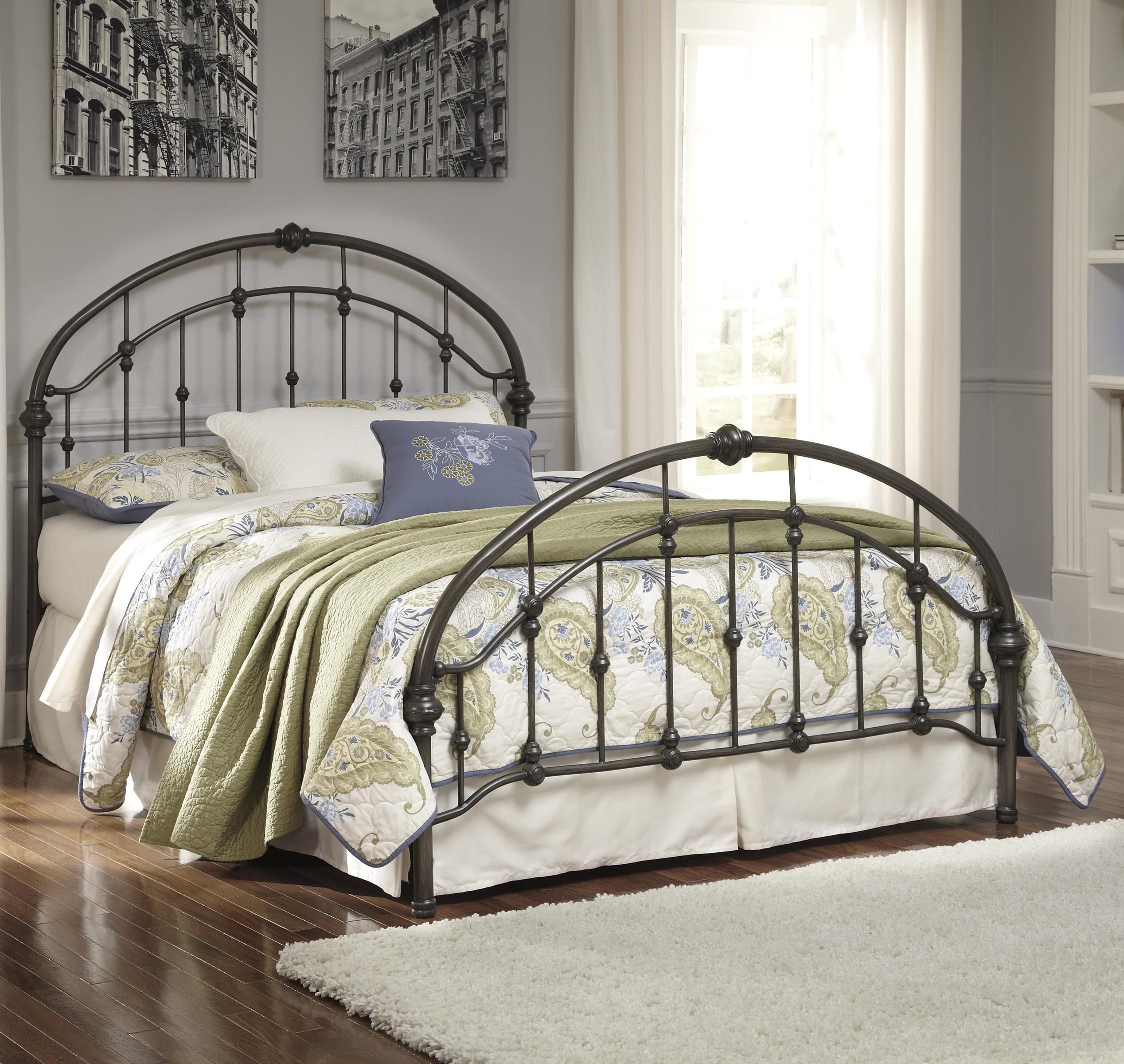 Signature Design By Ashley Nashburg B280 181 Queen Arched Metal Bed In Bronze Color Finish