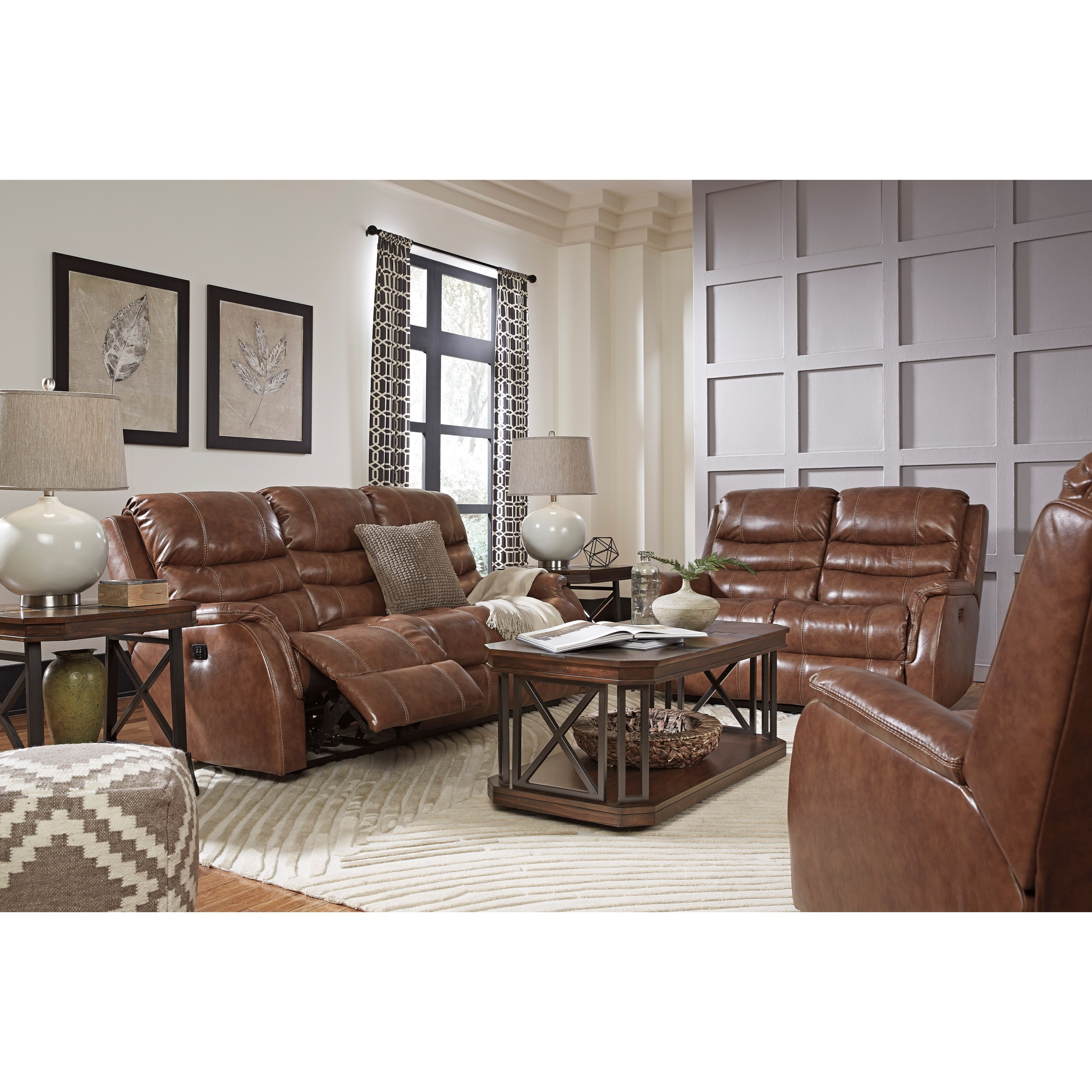 Signature Design By Ashley Metcalf Reclining Living Room Group Household Furniture Reclining