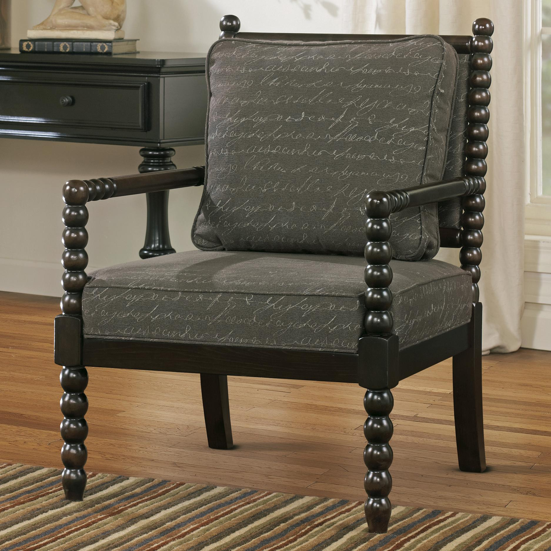 signature design by ashley milari accent chair in script fabric with spool turned legs and arms