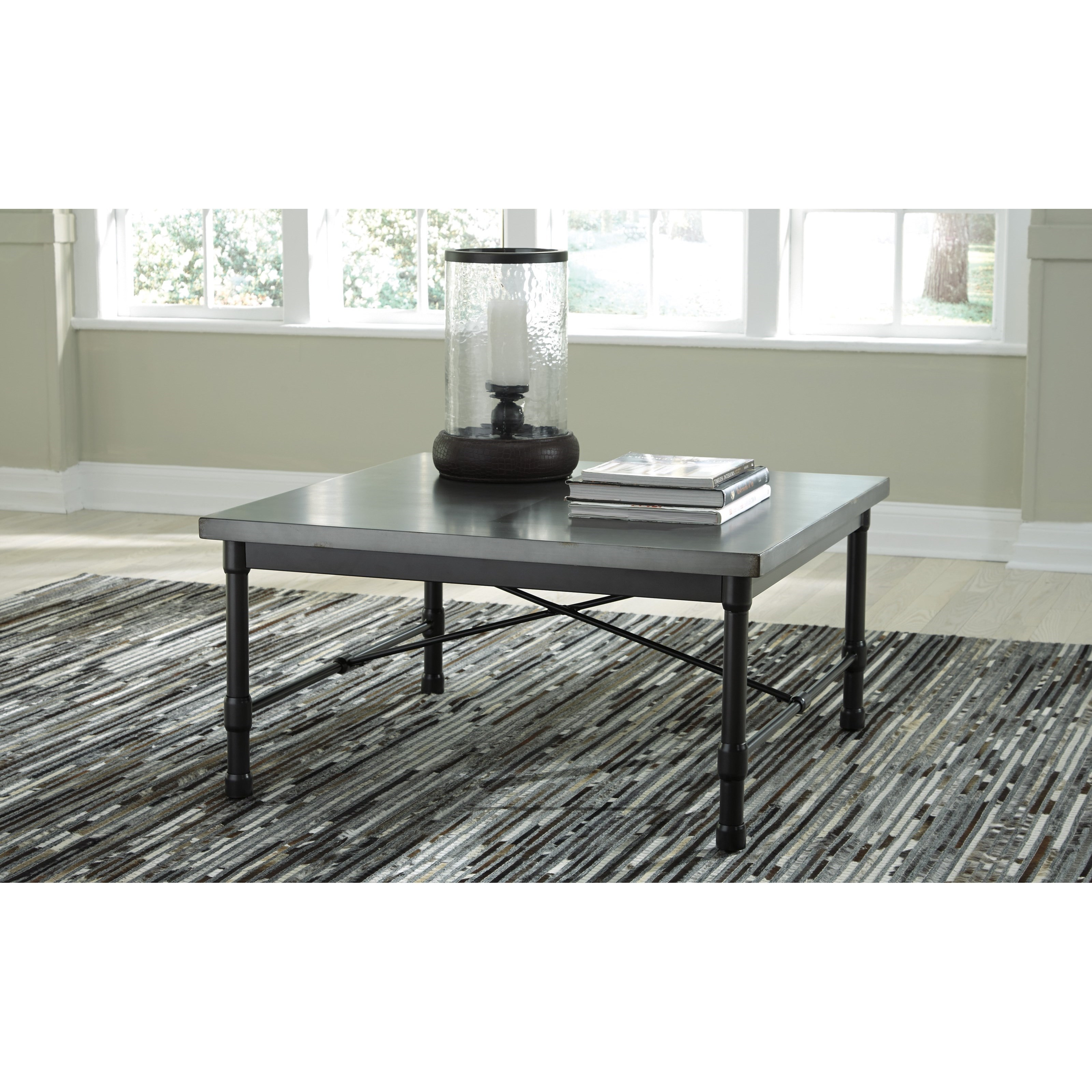 Signature design by ashley minnona industrial square for Coffee tables value city furniture