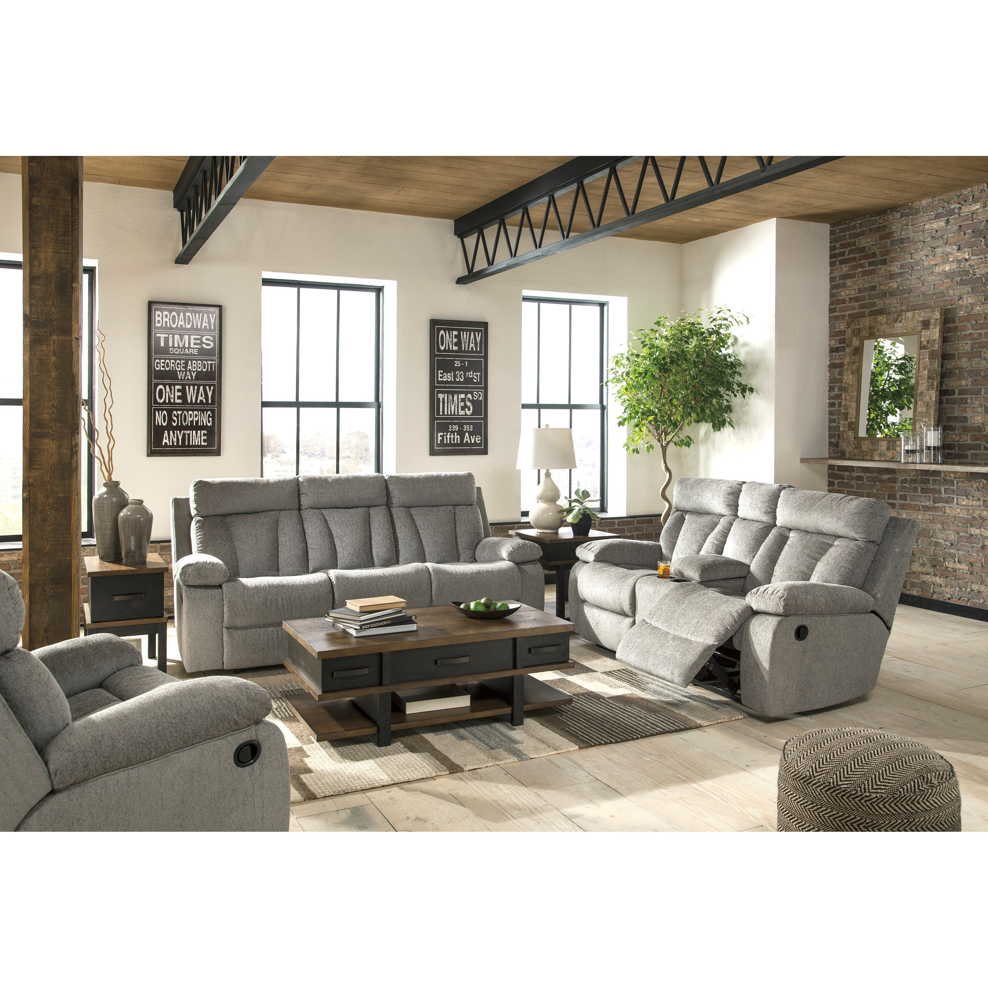 Signature design by ashley mitchiner reclining living room for Living room furniture groups