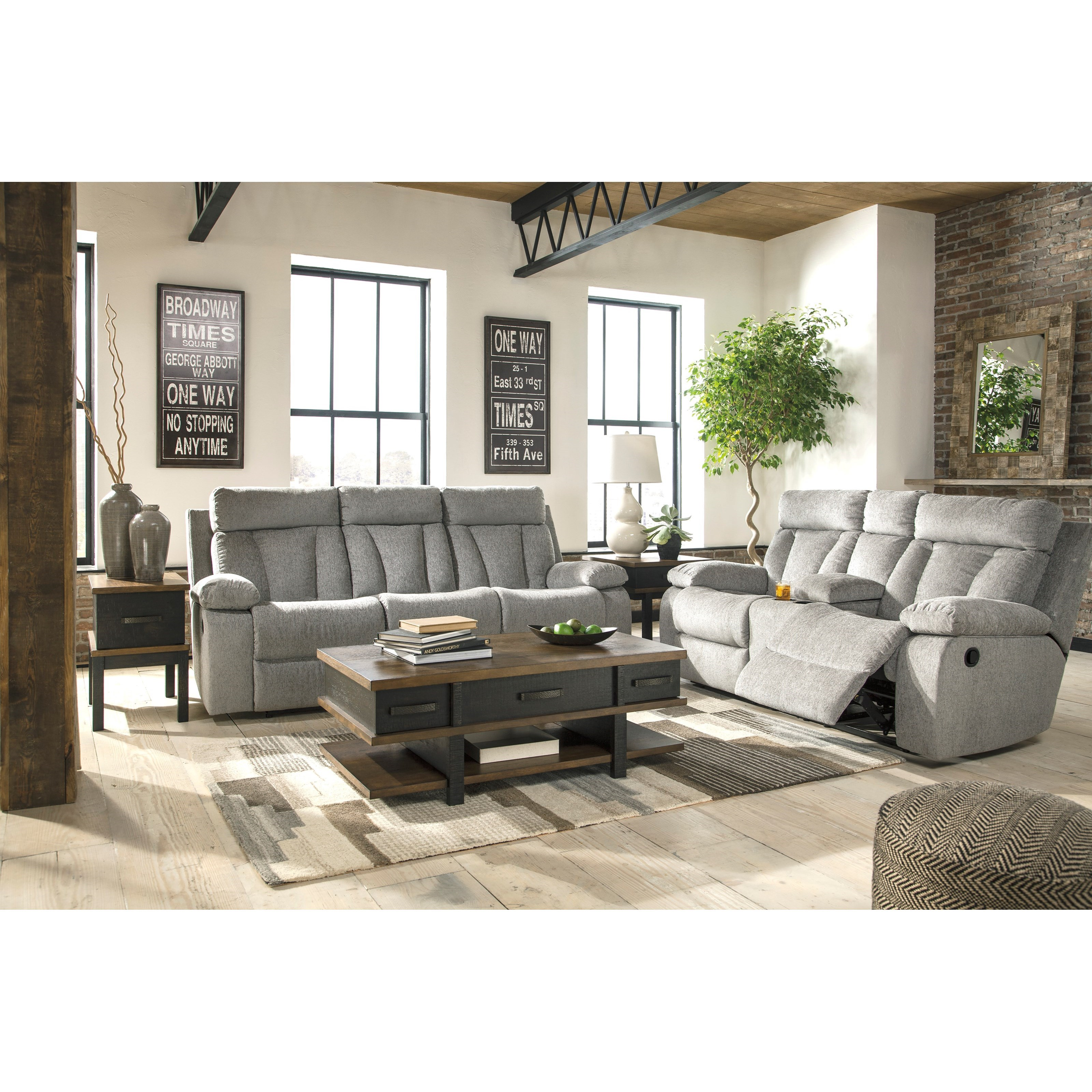 Ashley signature design mitchiner reclining living room for Living room furniture groups
