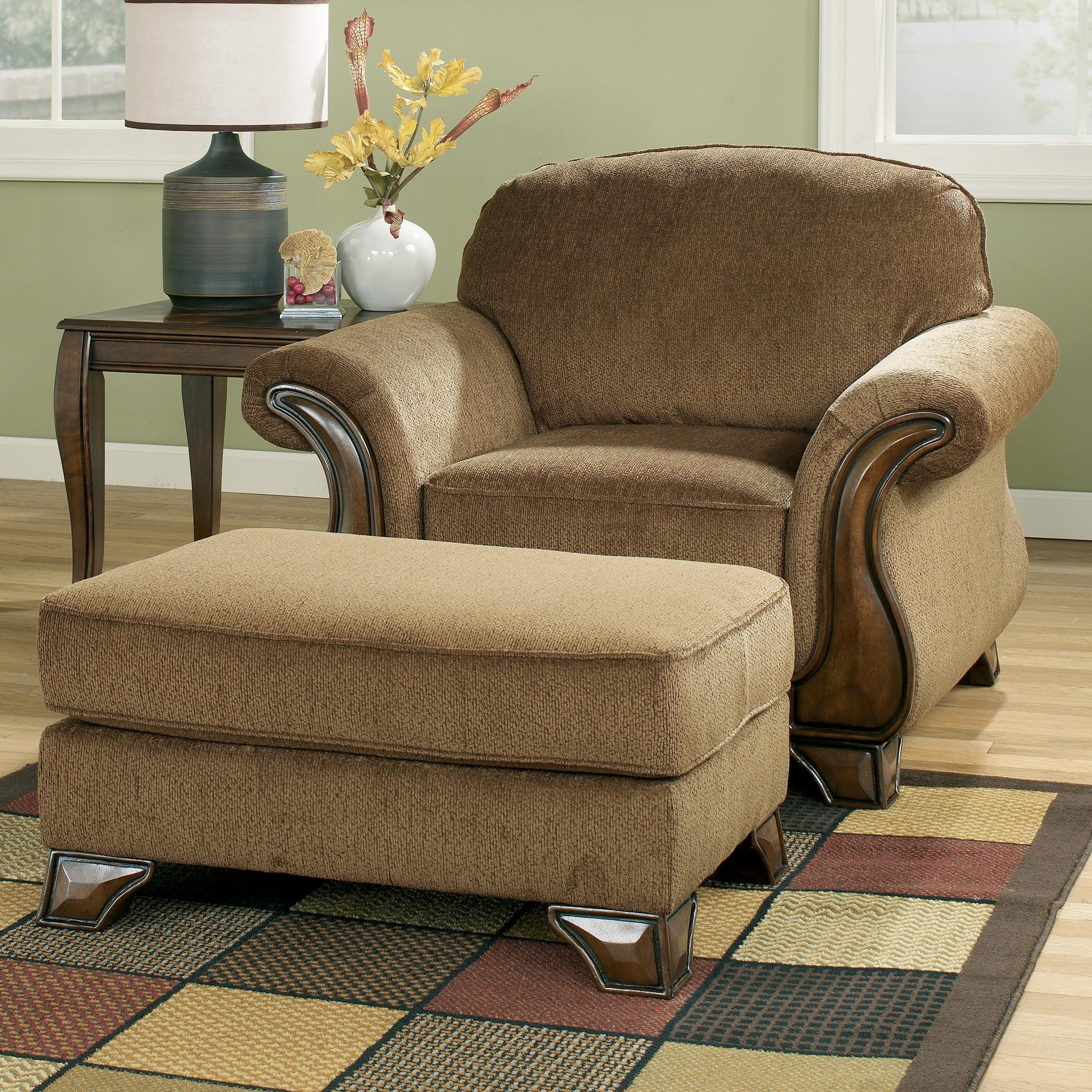 Signature Design By Ashley Montgomery Mocha Chair Ottoman With Exposed Faux Wood Detail