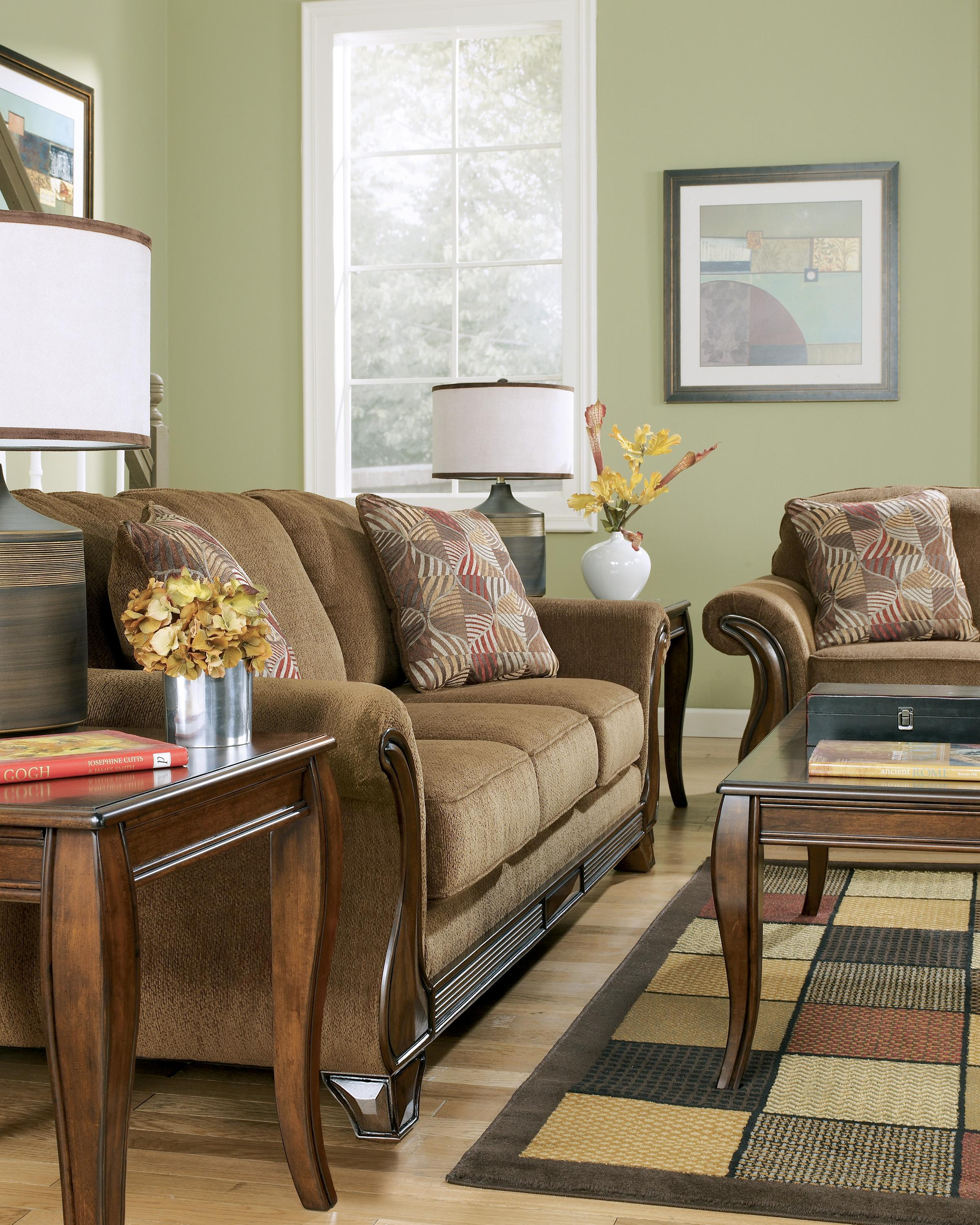 Signature Design By Ashley Montgomery Mocha Queen Sofa Sleeper With Flared Arms Exposed Faux