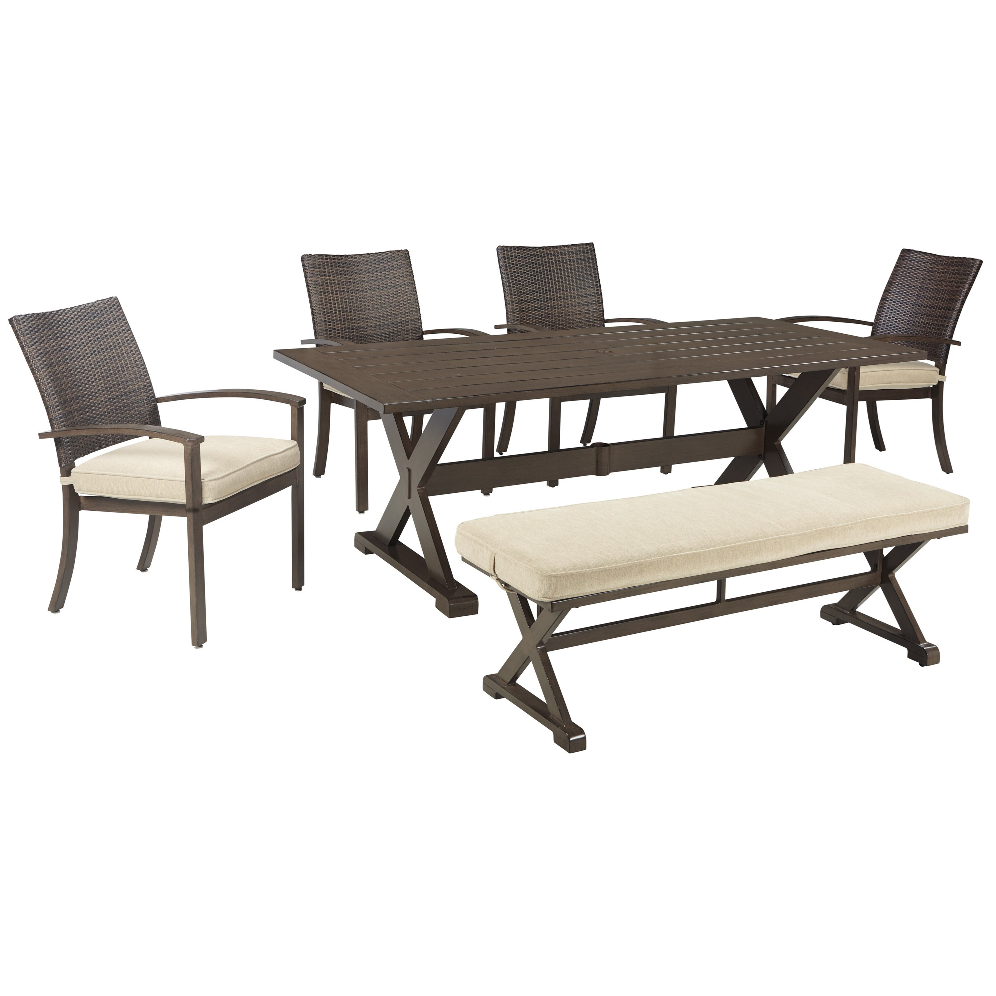 Ashley signature design moresdale outdoor dining set with for Bench style dining set