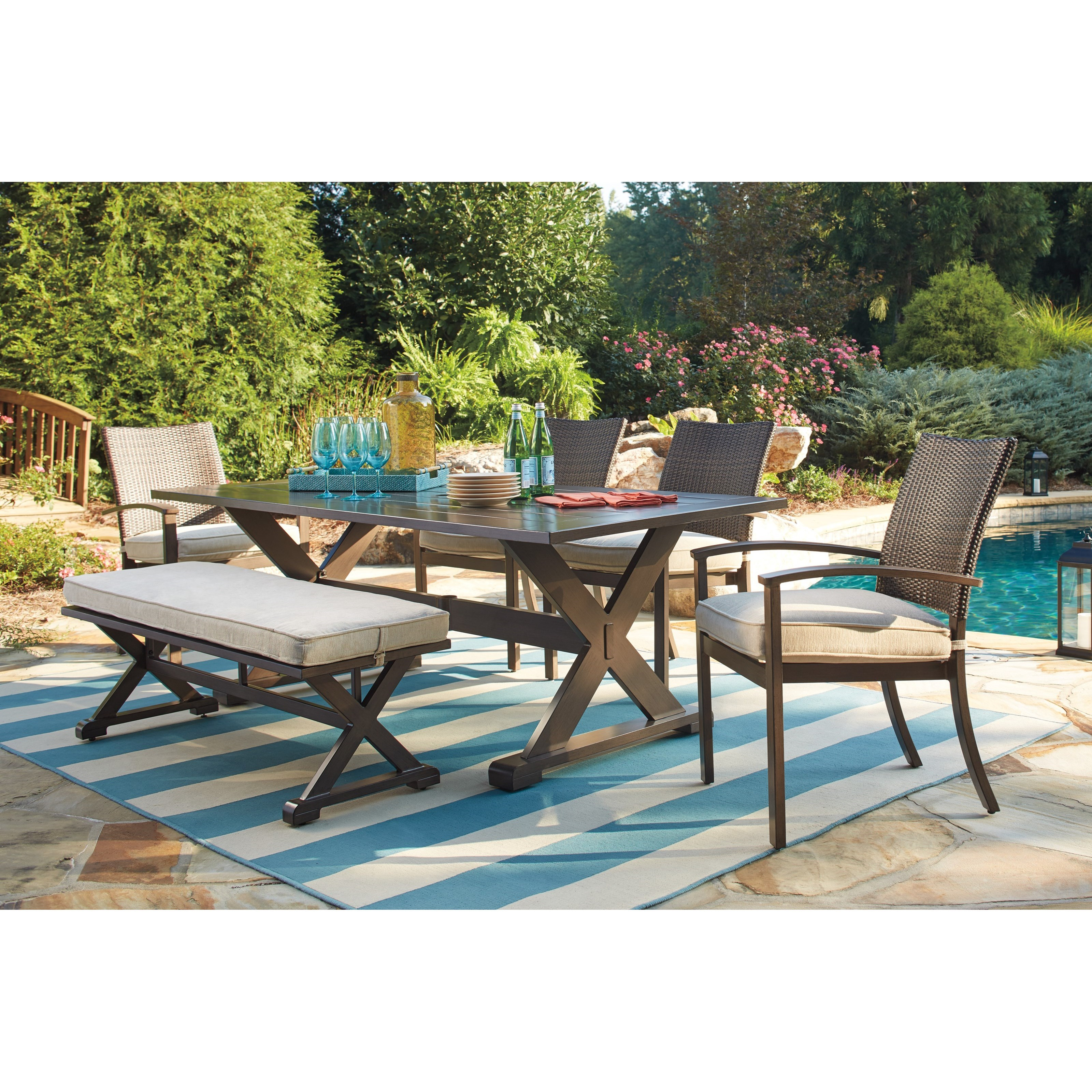 Ashley Signature Design Moresdale Outdoor Dining Set with Bench Dunk &