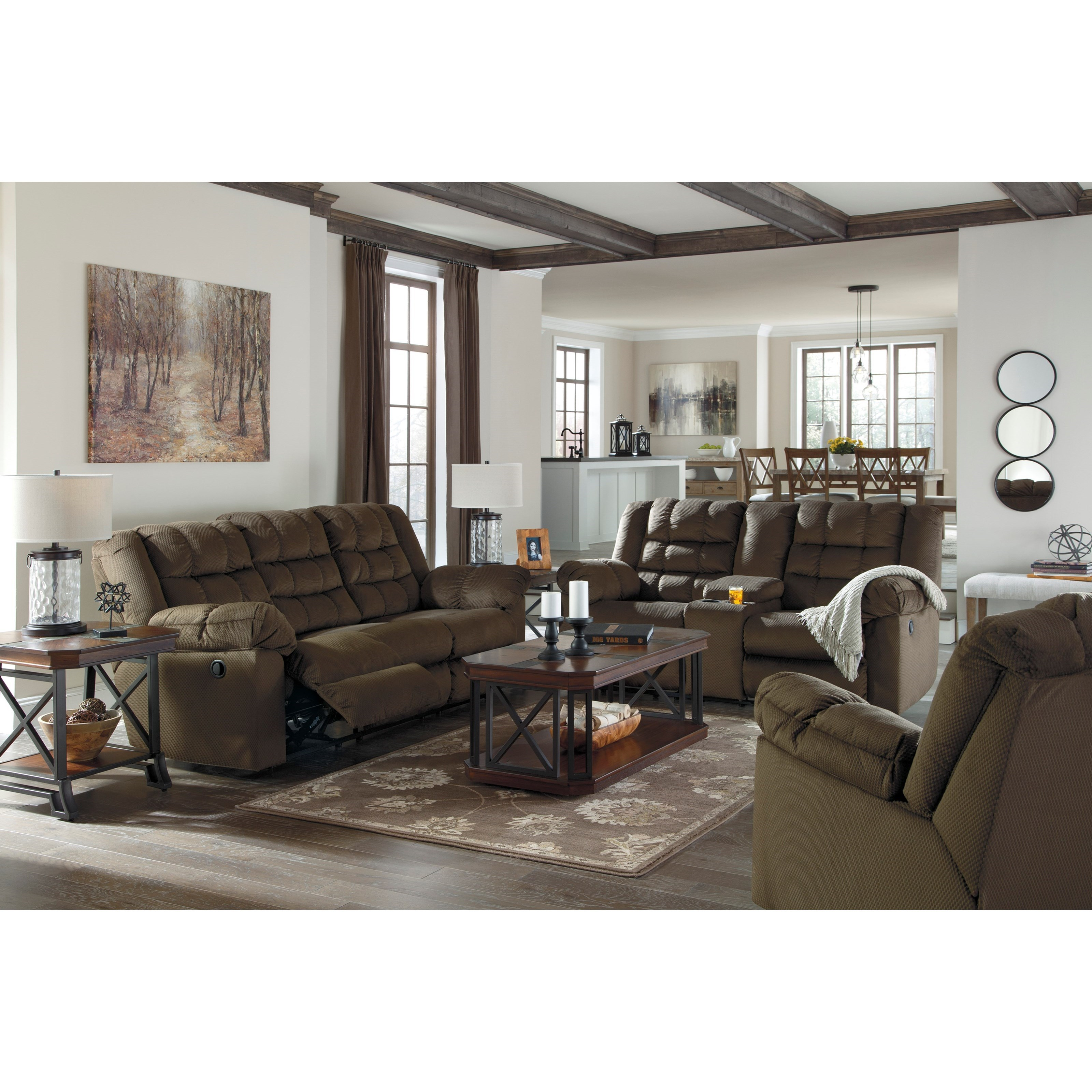 Styleline mort reclining living room group efo furniture outlet reclining living room group for Ashley wilkes bedroom collection