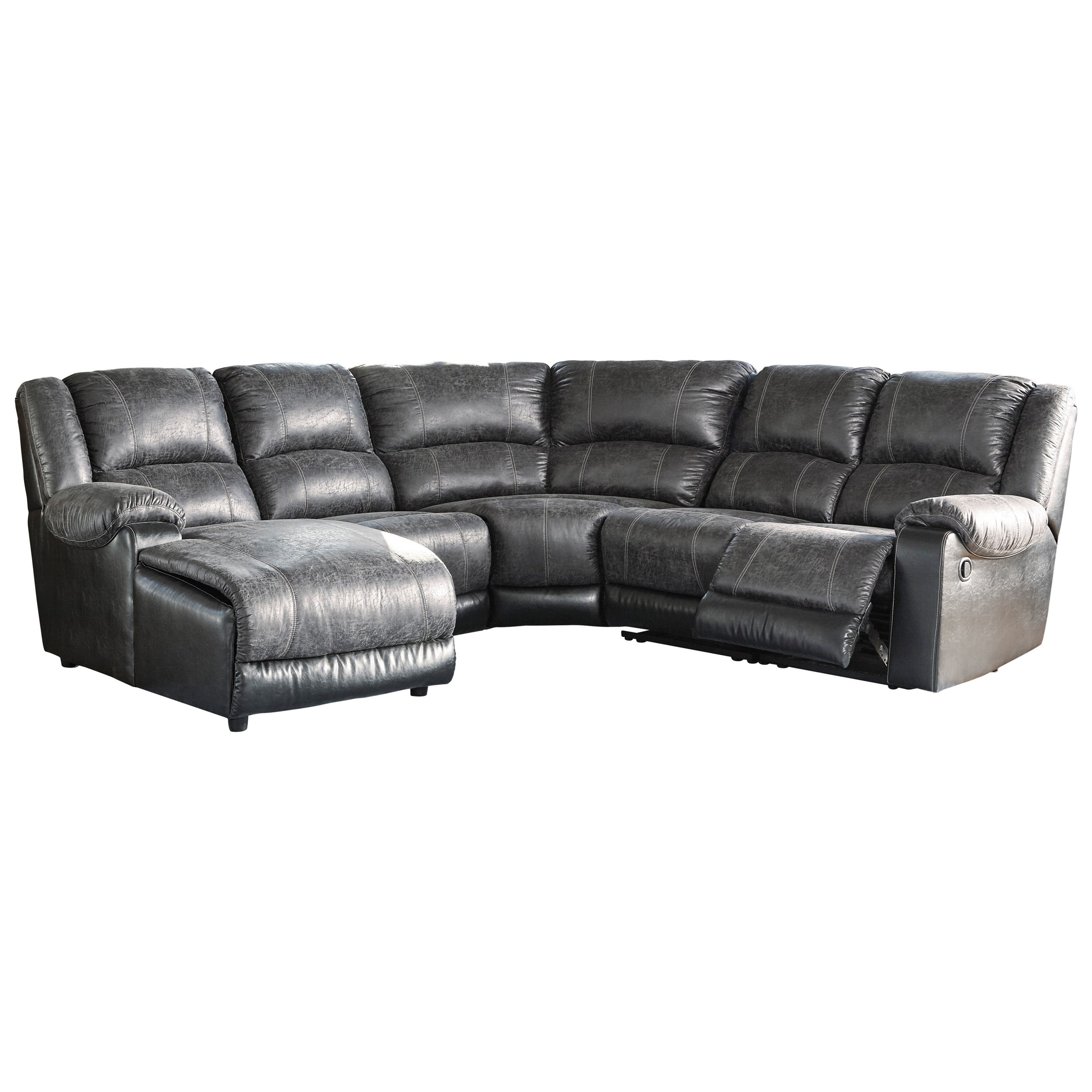 Signature design by ashley nantahala faux leather reclining sectional with chaise beck 39 s - Leather reclining sectional with chaise ...