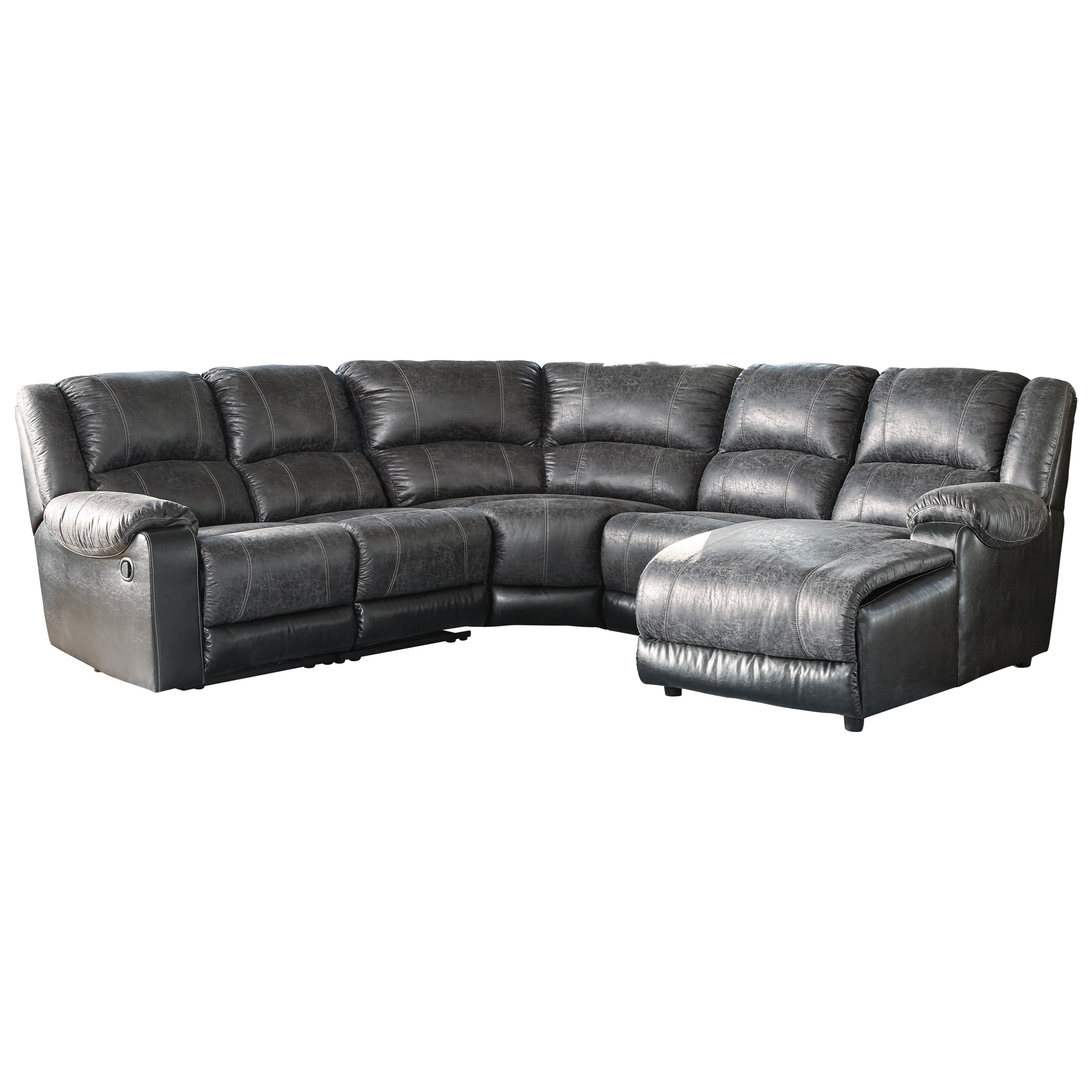 Ashley signature design nantahala faux leather reclining - Leather reclining sectional with chaise ...