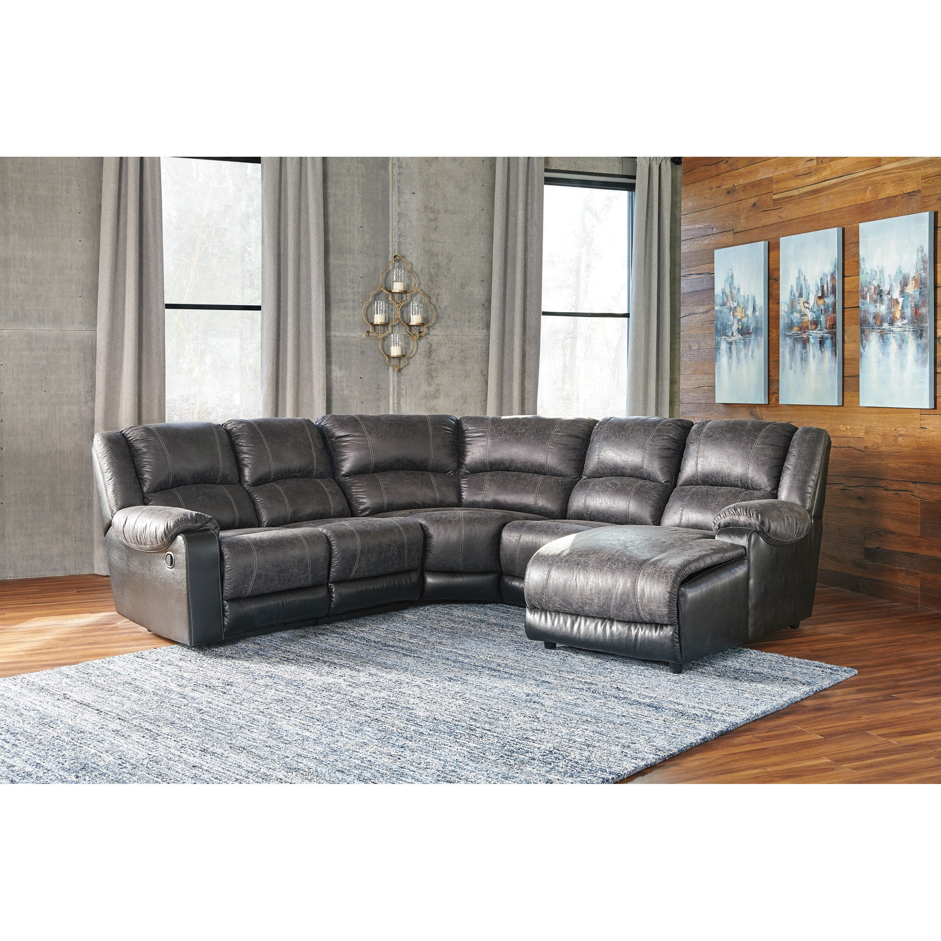 Signature design by ashley nantahala faux leather reclining sectional with chaise del sol - Leather reclining sectional with chaise ...