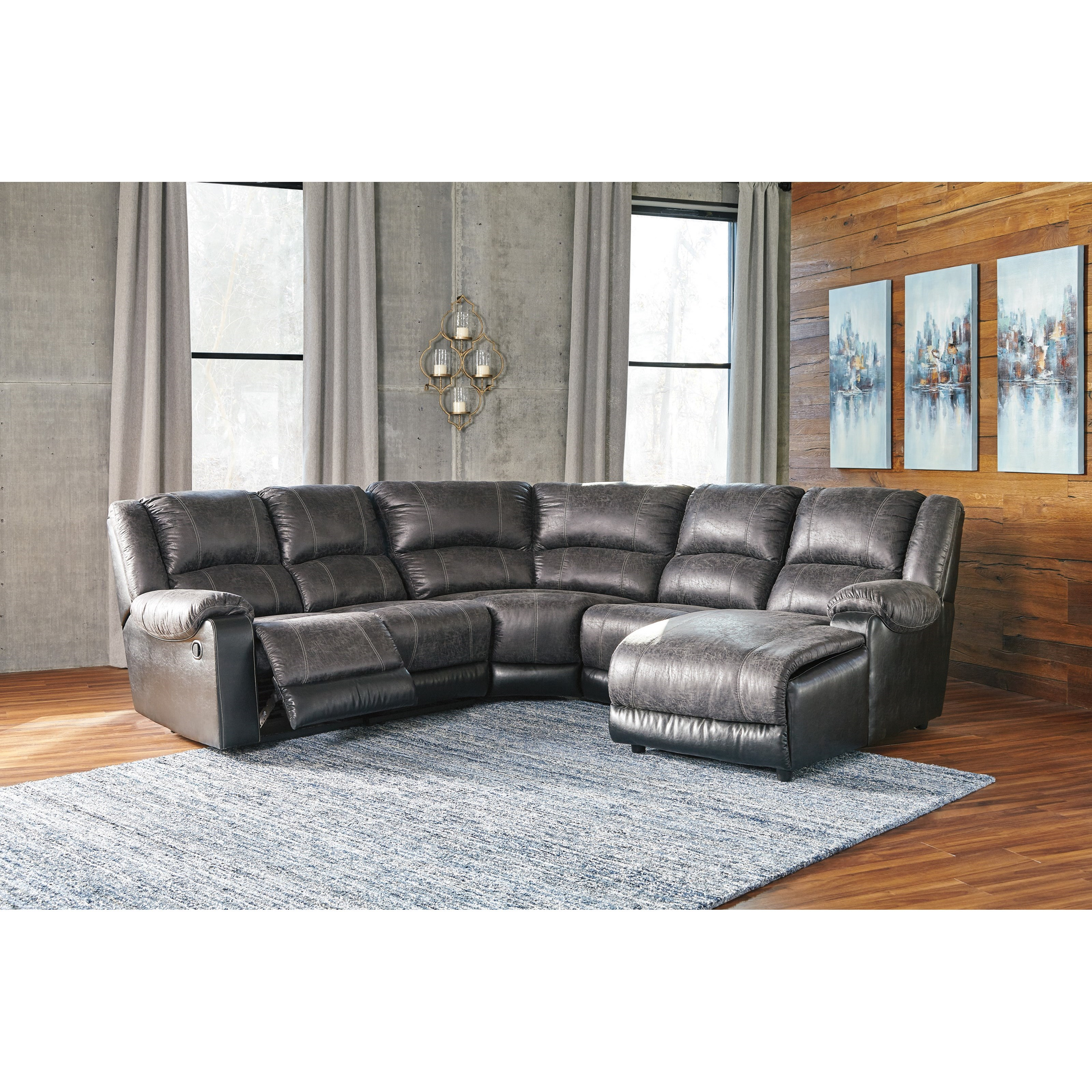 Signature Design By Ashley Nantahala Faux Leather Reclining Sectional With Chaise Royal
