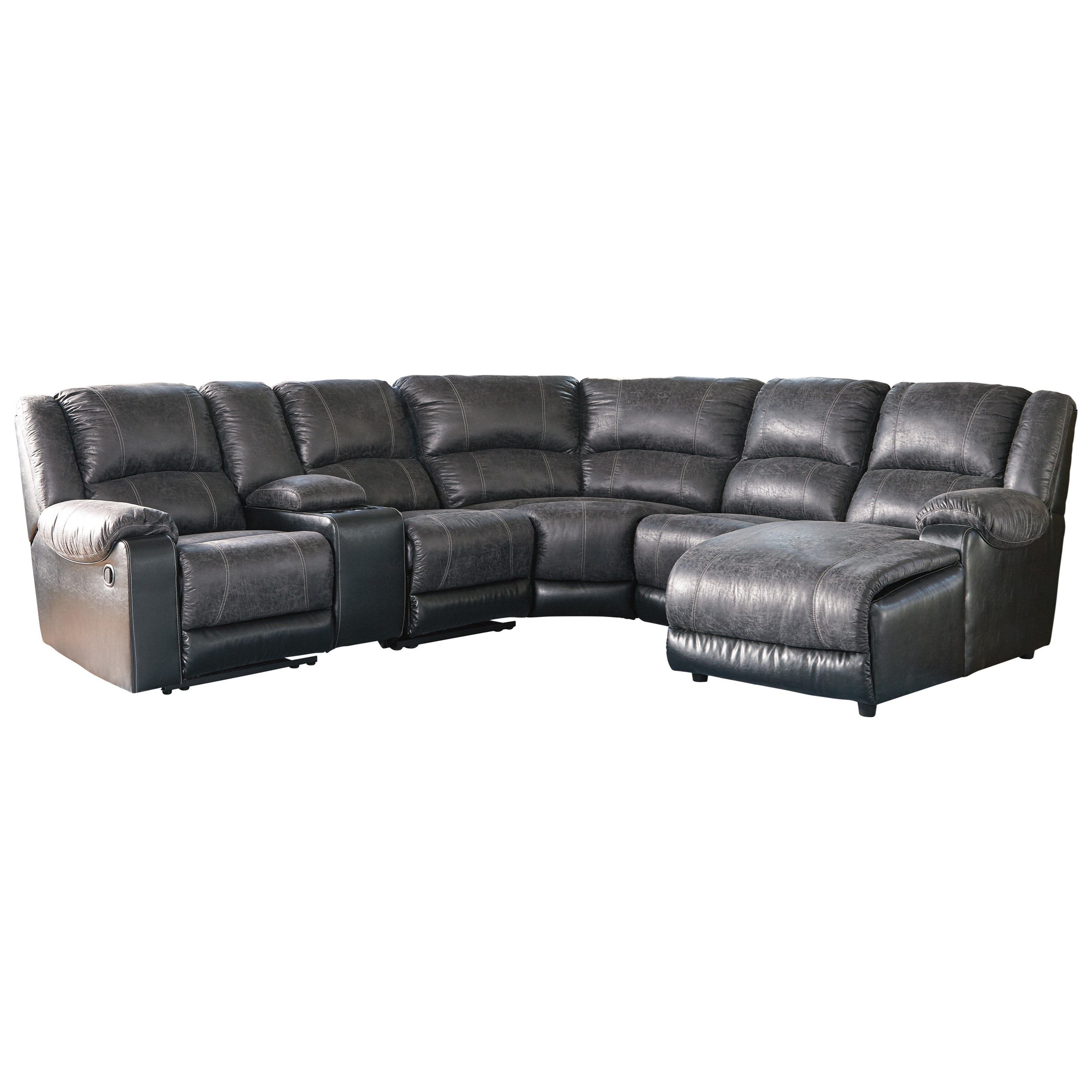 Signature design by ashley nantahala faux leather - Leather reclining sectional with chaise ...