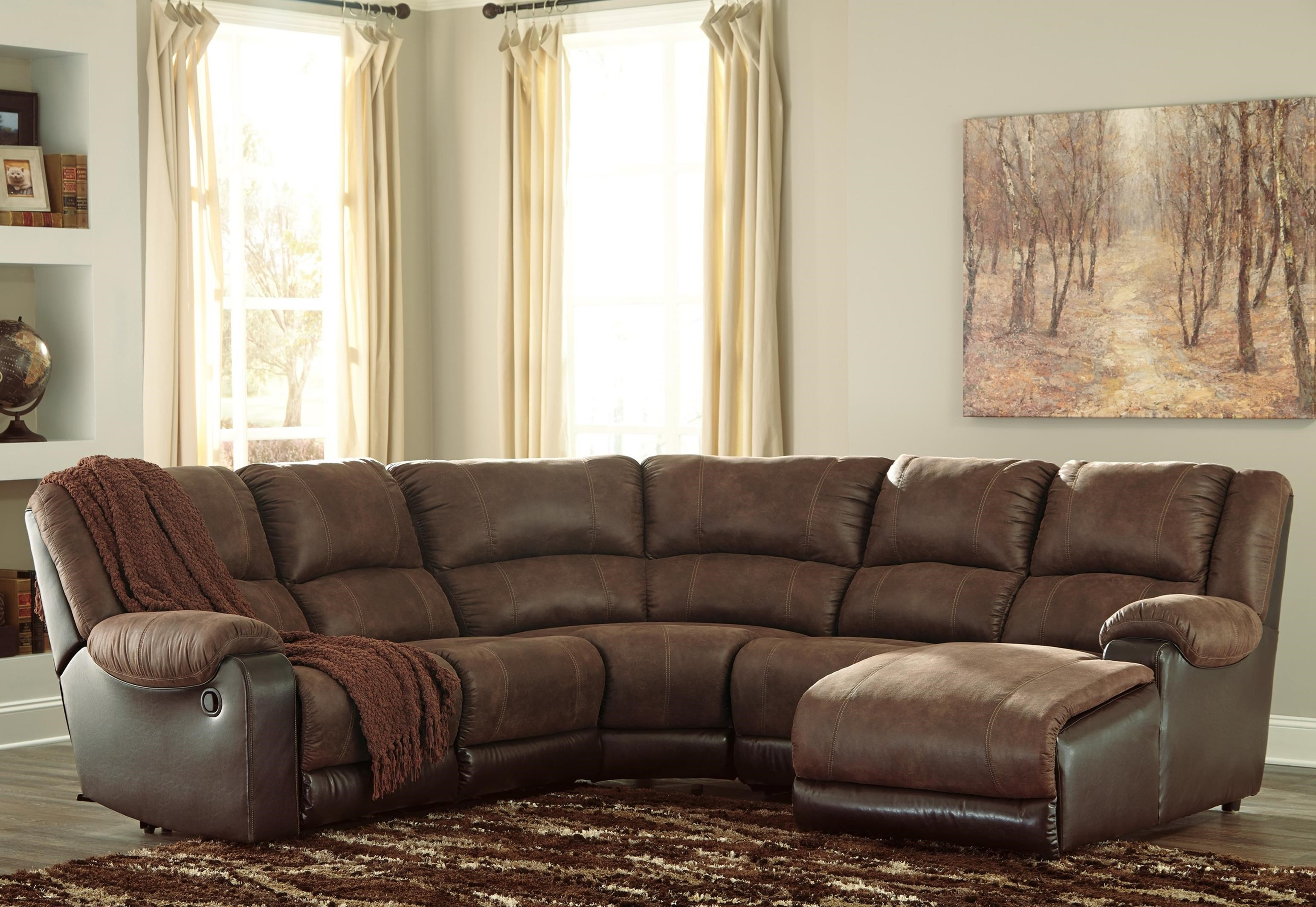 Ashley signature design nantahala faux leather reclining sectional with chaise dunk bright - Leather reclining sectional with chaise ...