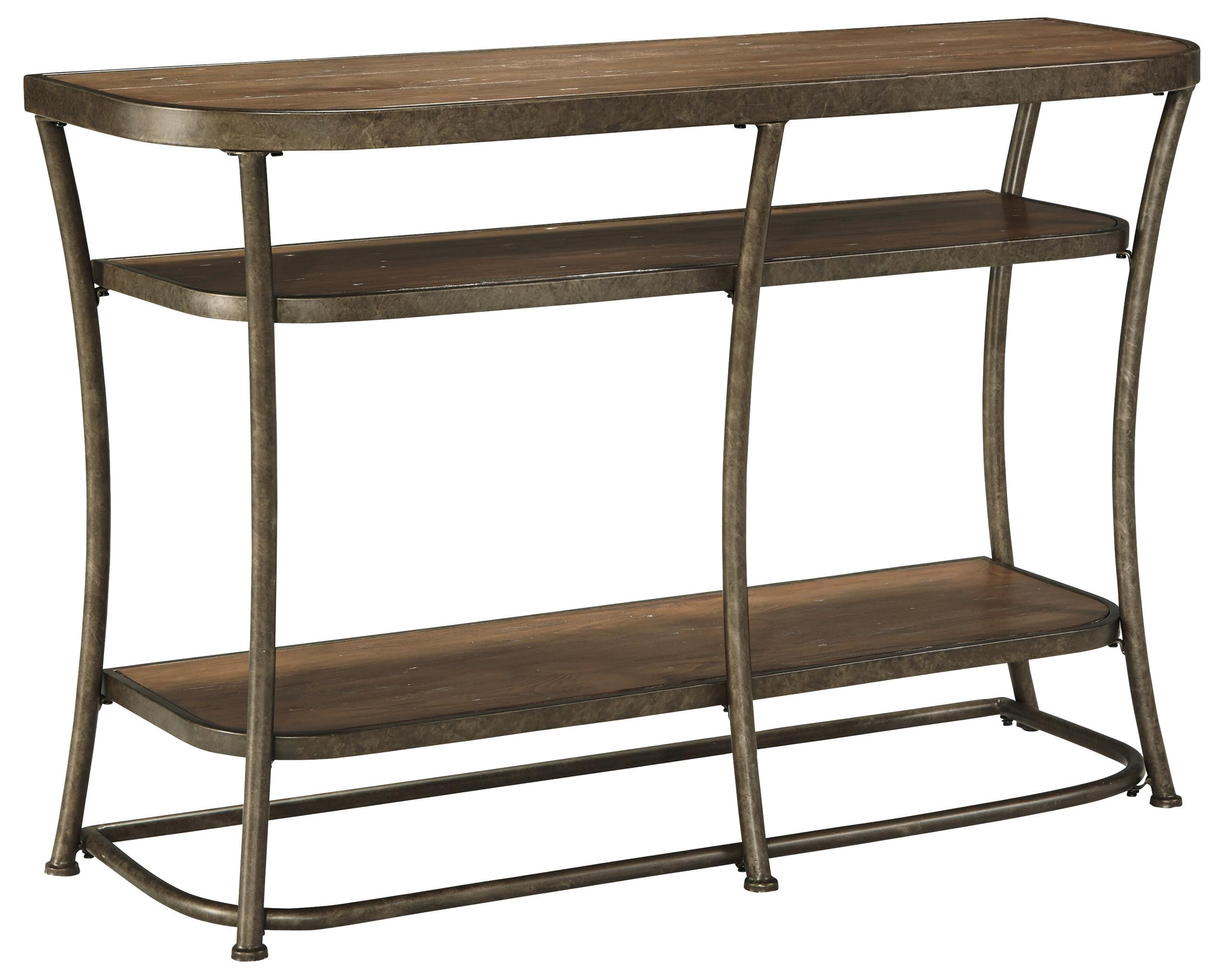 Signature design by ashley narina t805 4 rustic metal for Sofa table vs console table