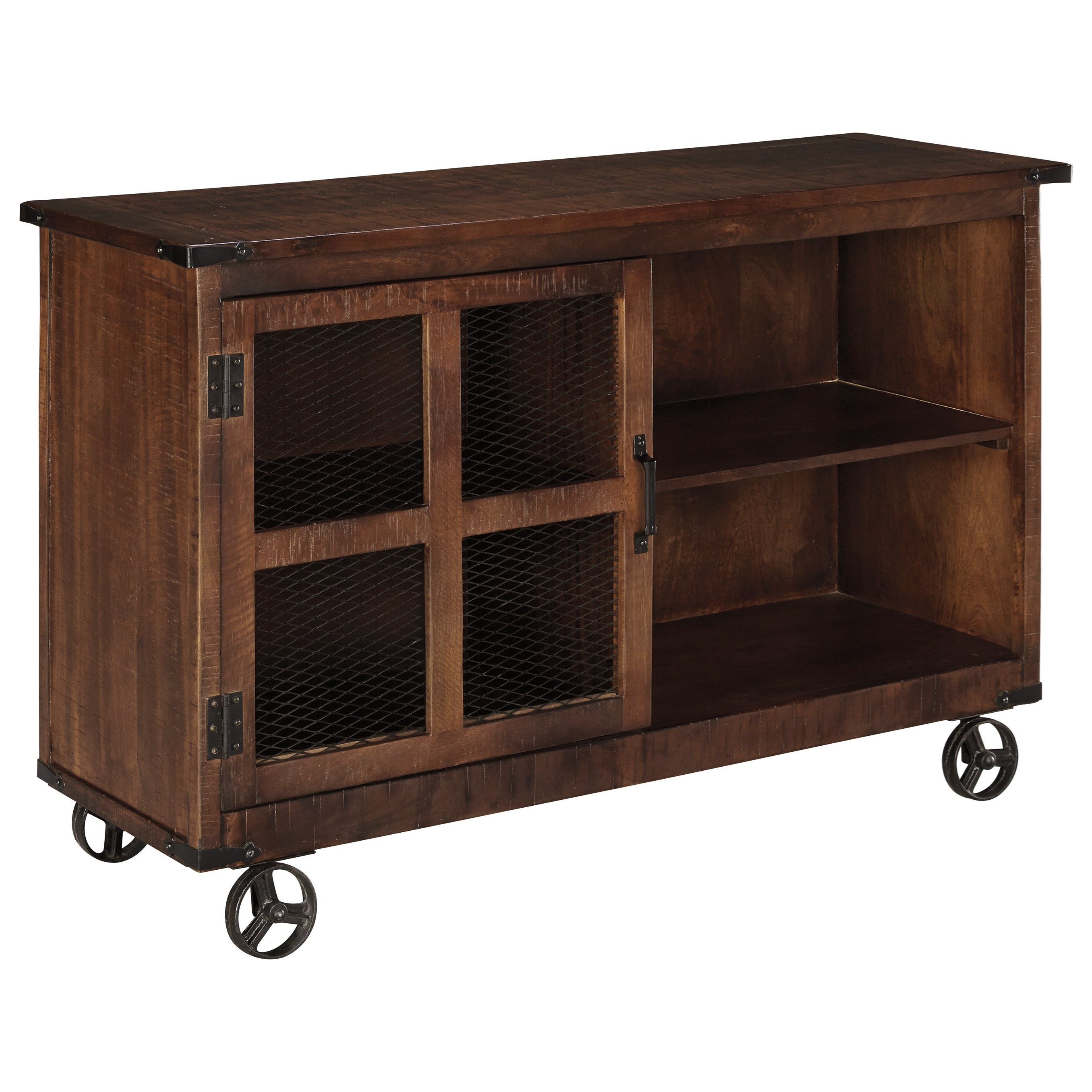 ashley signature design norlandon rustic industrial console with door wheels johnny. Black Bedroom Furniture Sets. Home Design Ideas