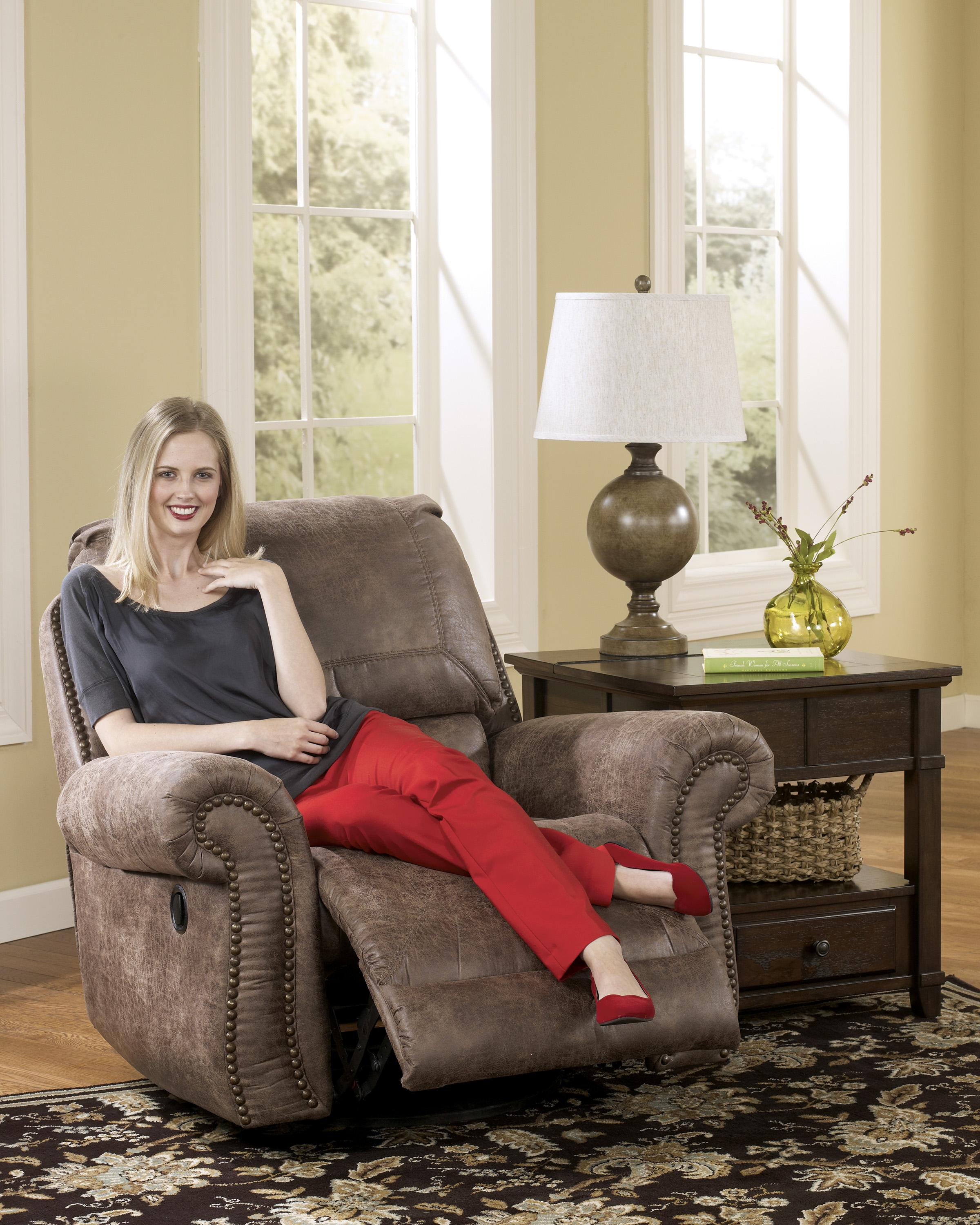 Ashley Signature Design Oberson Gunsmoke 7410061 Swivel Glider Recliner With Rolled Arms