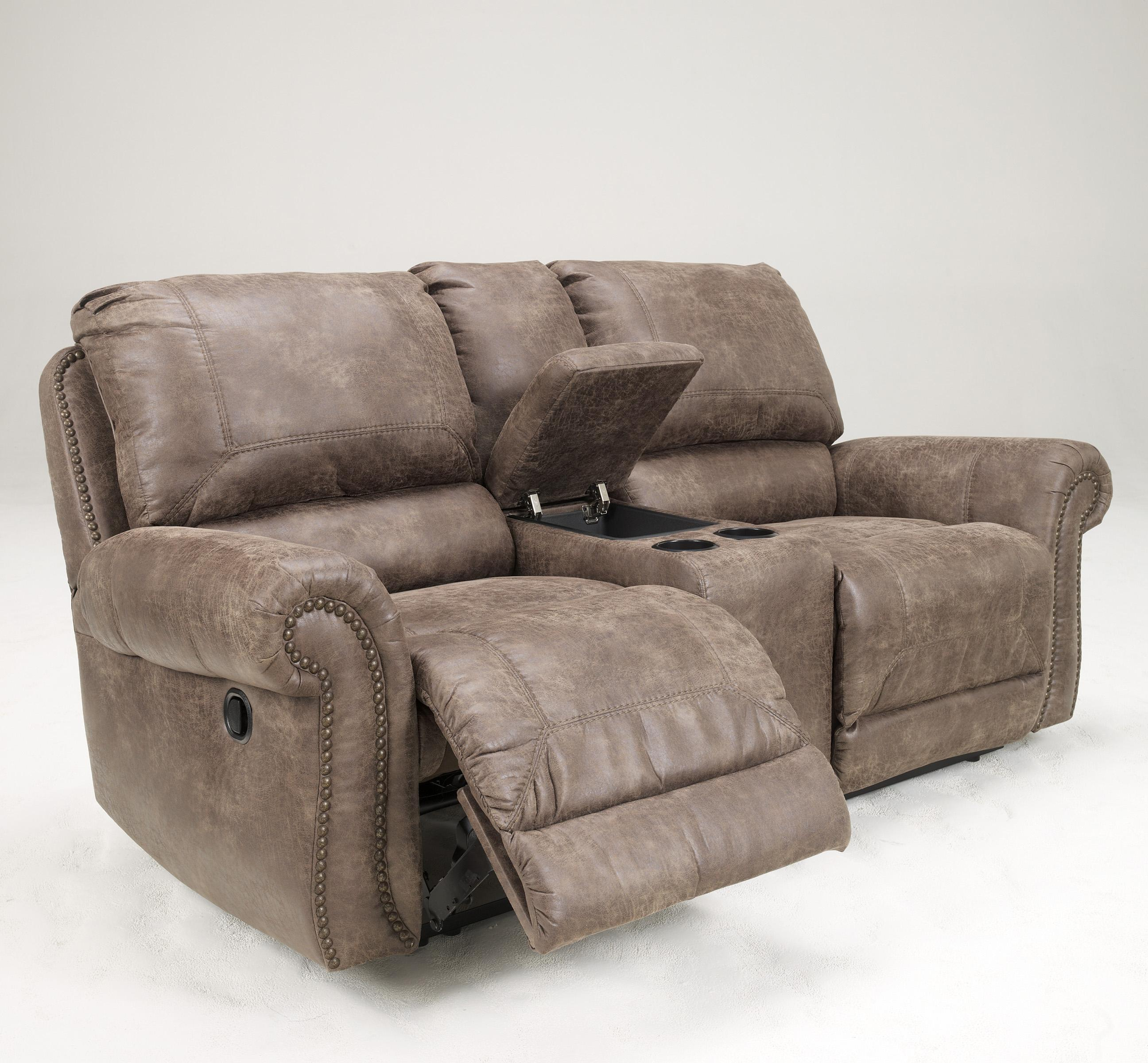 Signature Design By Ashley Oberson Gunsmoke 7410096 Double Reclining Power Loveseat W Console