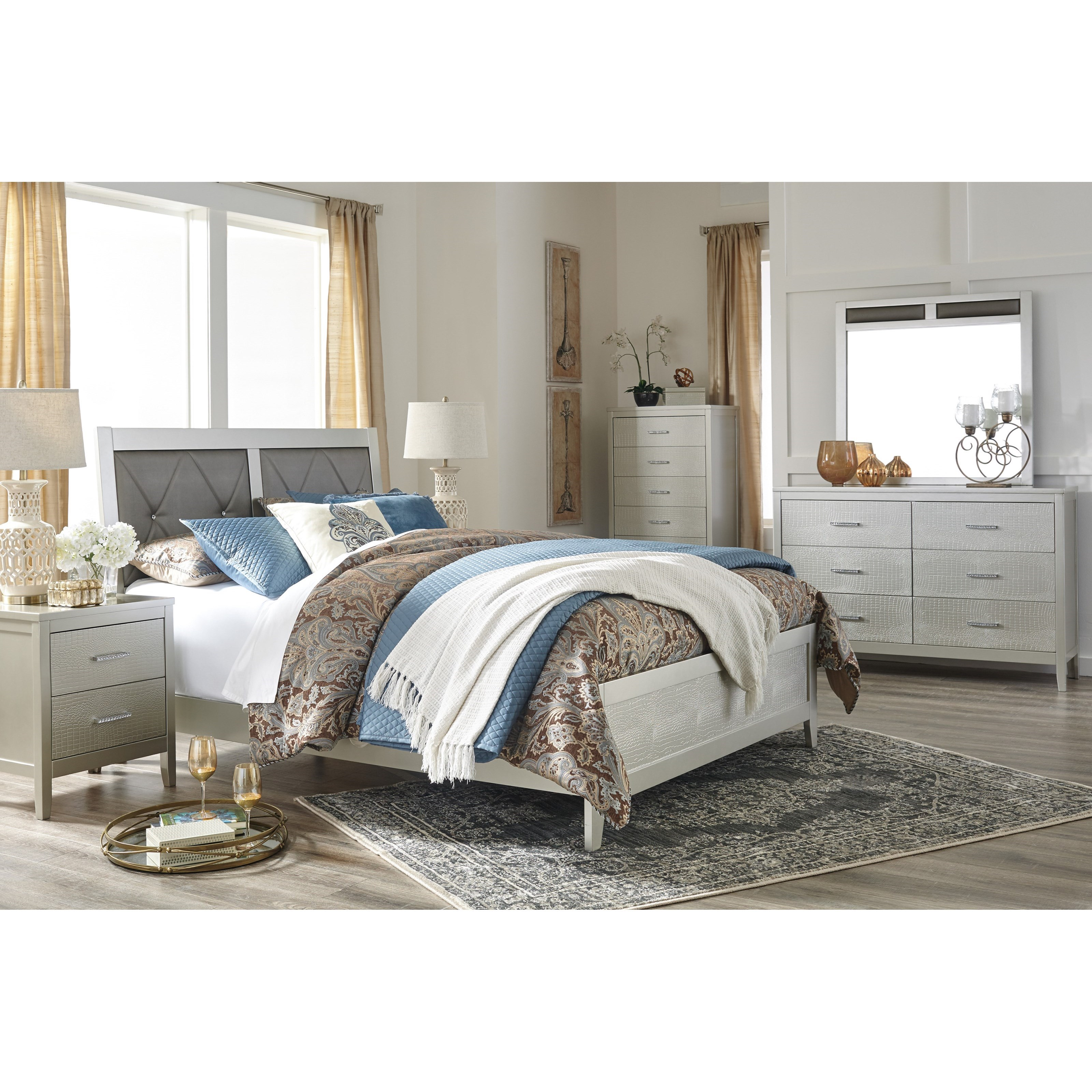 Signature Design by Ashley Olivet Glam King Bedroom Group Del Sol Furniture