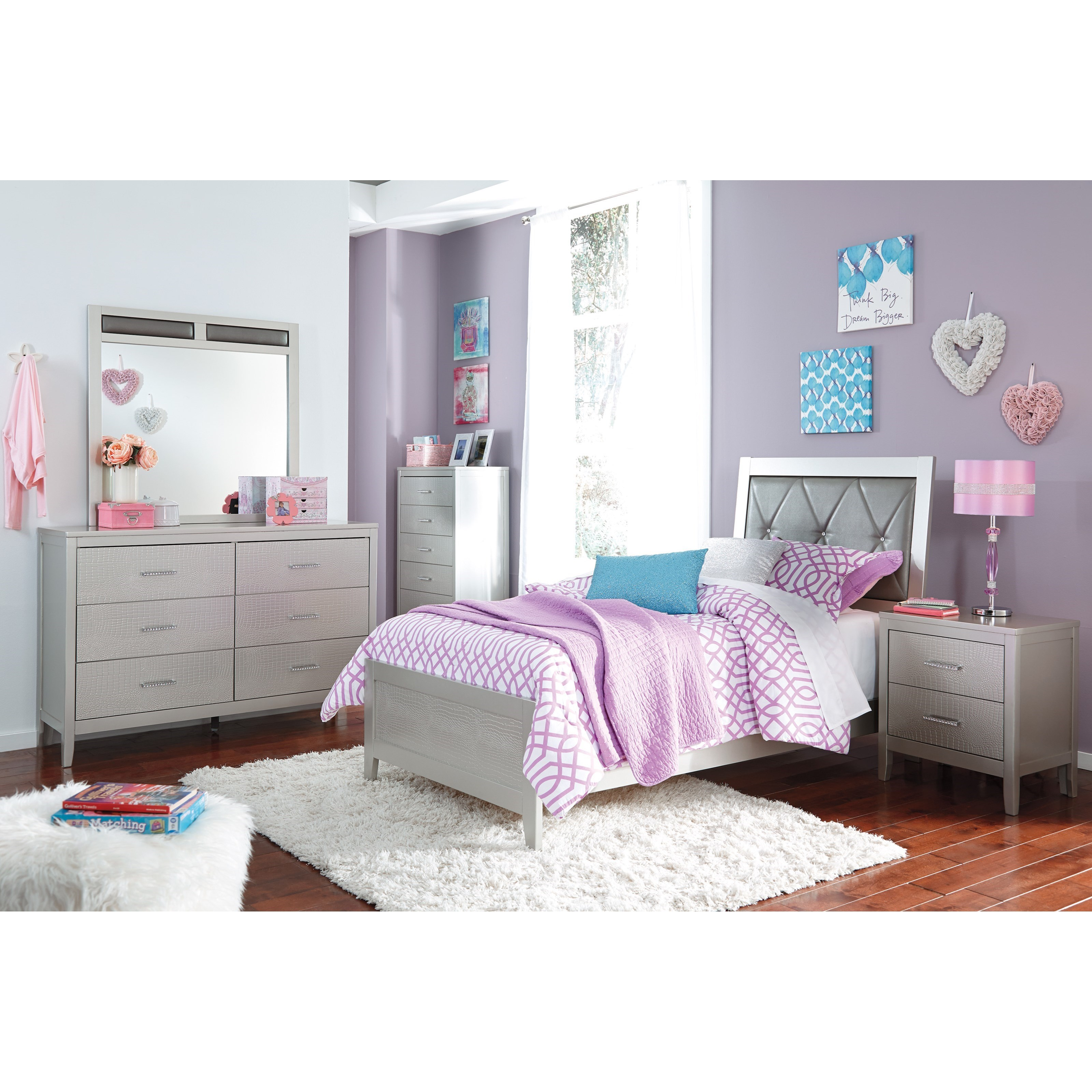 Signature design by ashley olivet glam twin bedroom group for Bedroom furniture groups