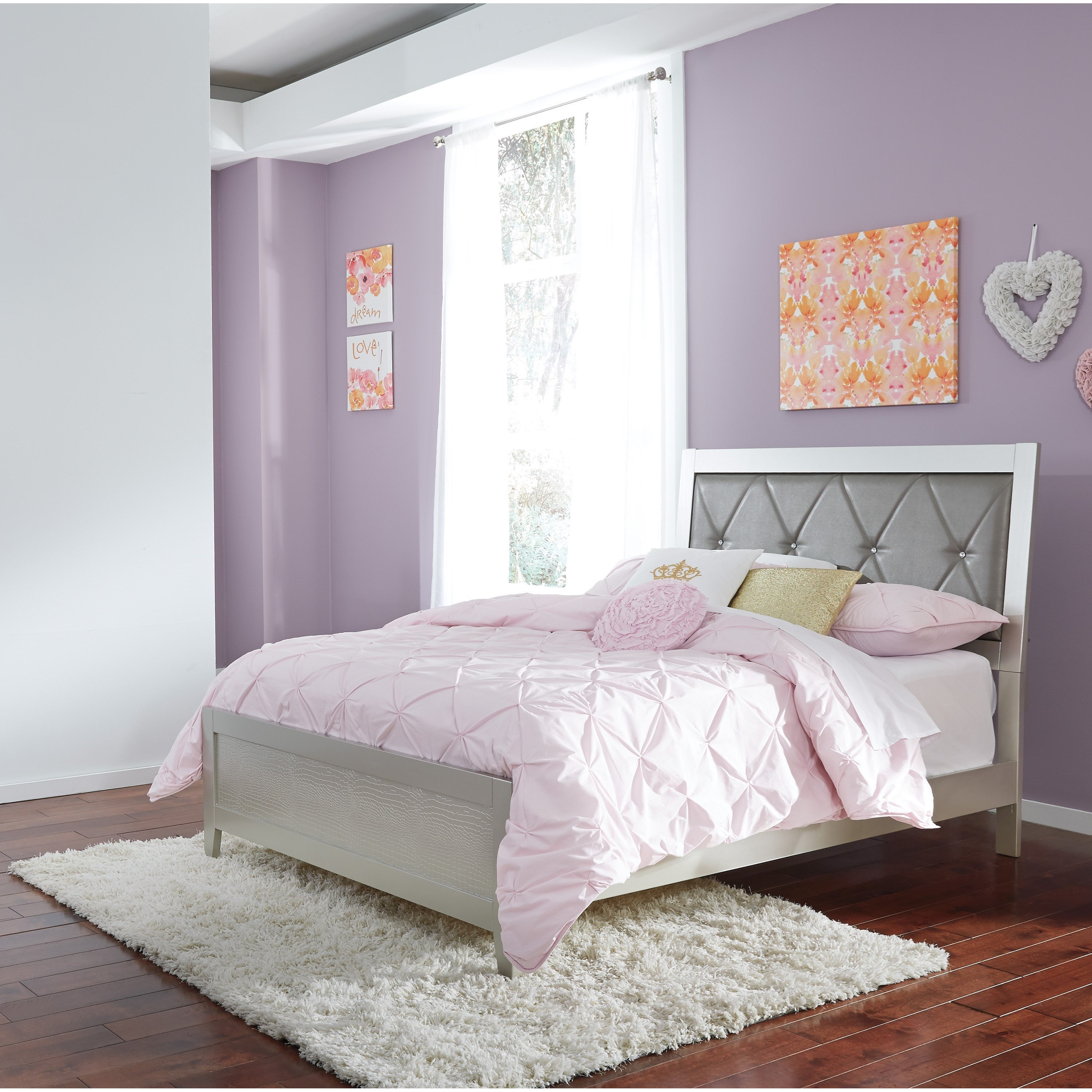 Signature design by ashley olivet glam full panel bed with for Whole bedroom set