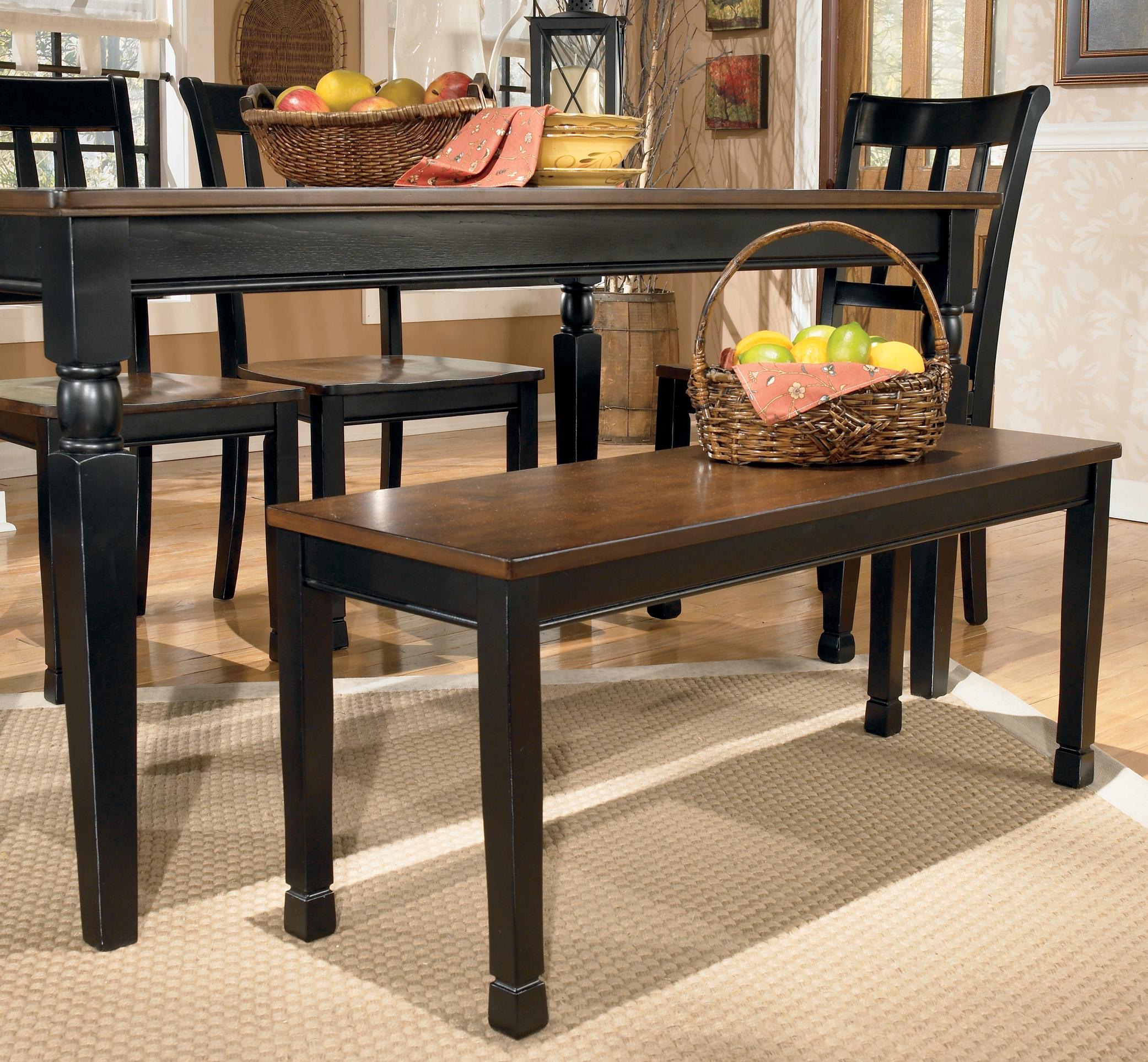 signature design by ashley owingsville large dining room bench royal furniture dining benches. Black Bedroom Furniture Sets. Home Design Ideas