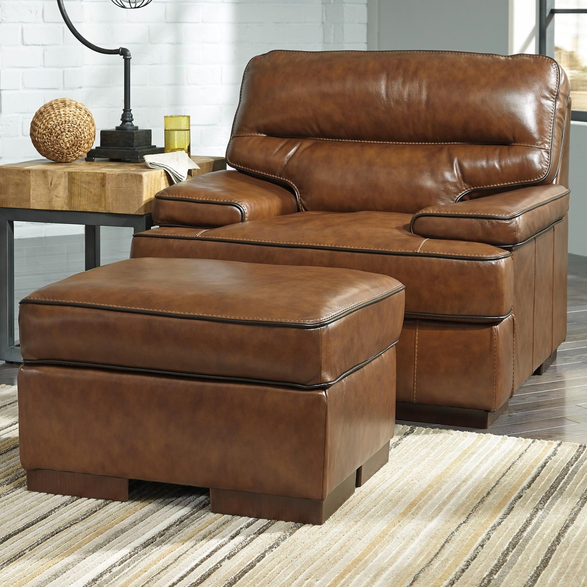 Signature Design By Ashley Palner Contemporary Leather Match Chair Ottoman Household