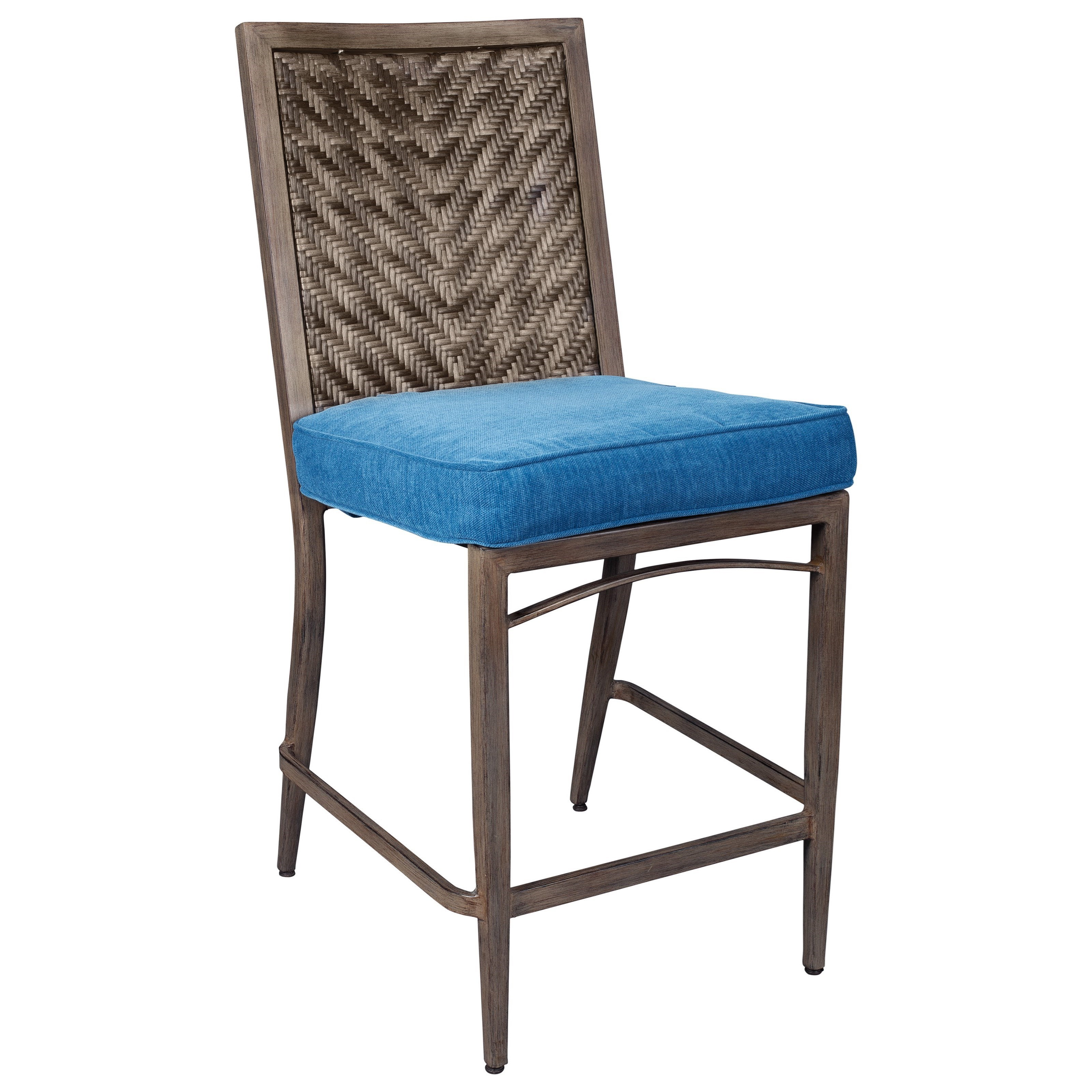 Ashley Signature Design Partanna Set of 4 Outdoor Barstools with Cushion Du