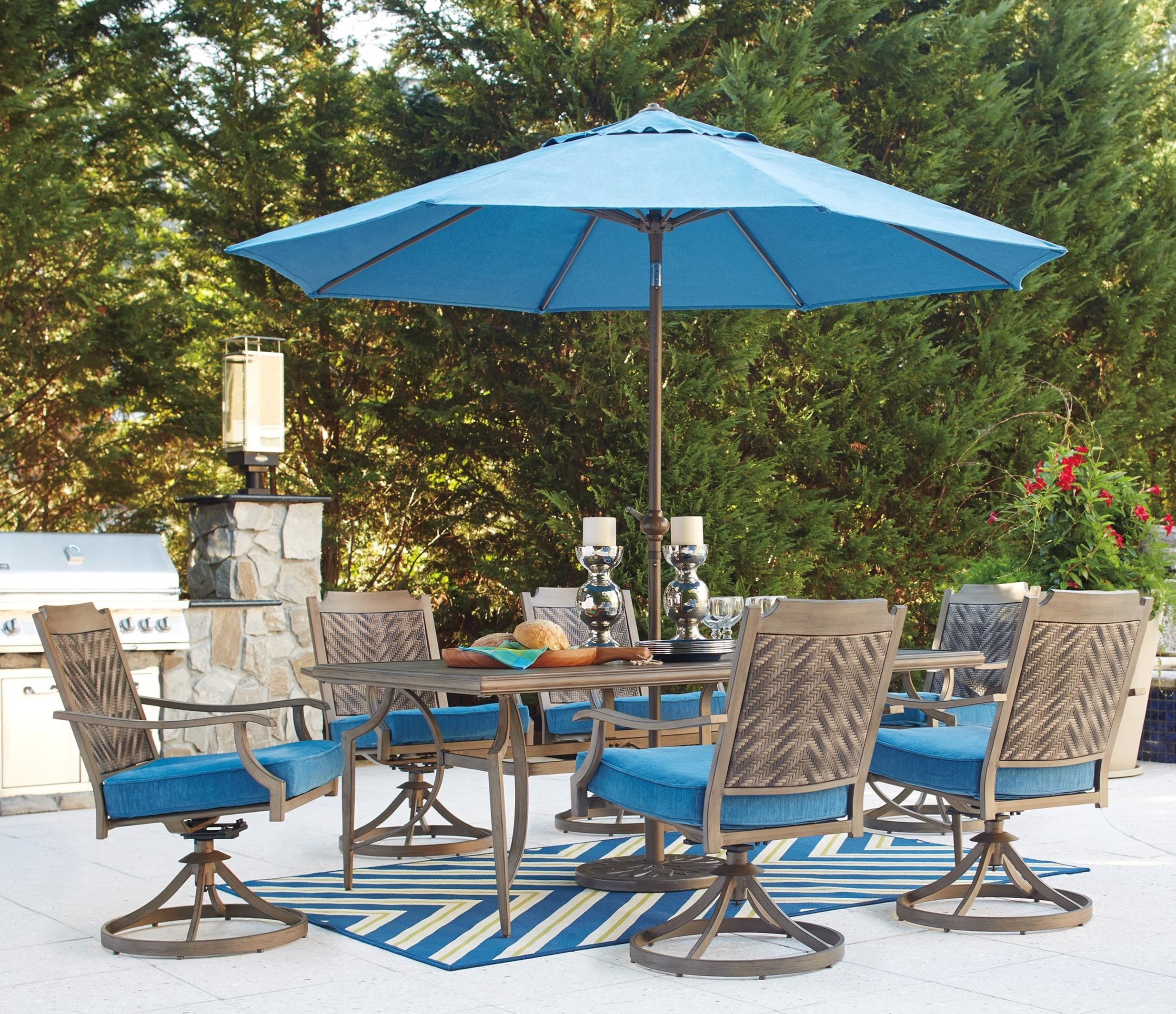 Ashley Signature Design Partanna Outdoor Dining Table Set with Umbrella &