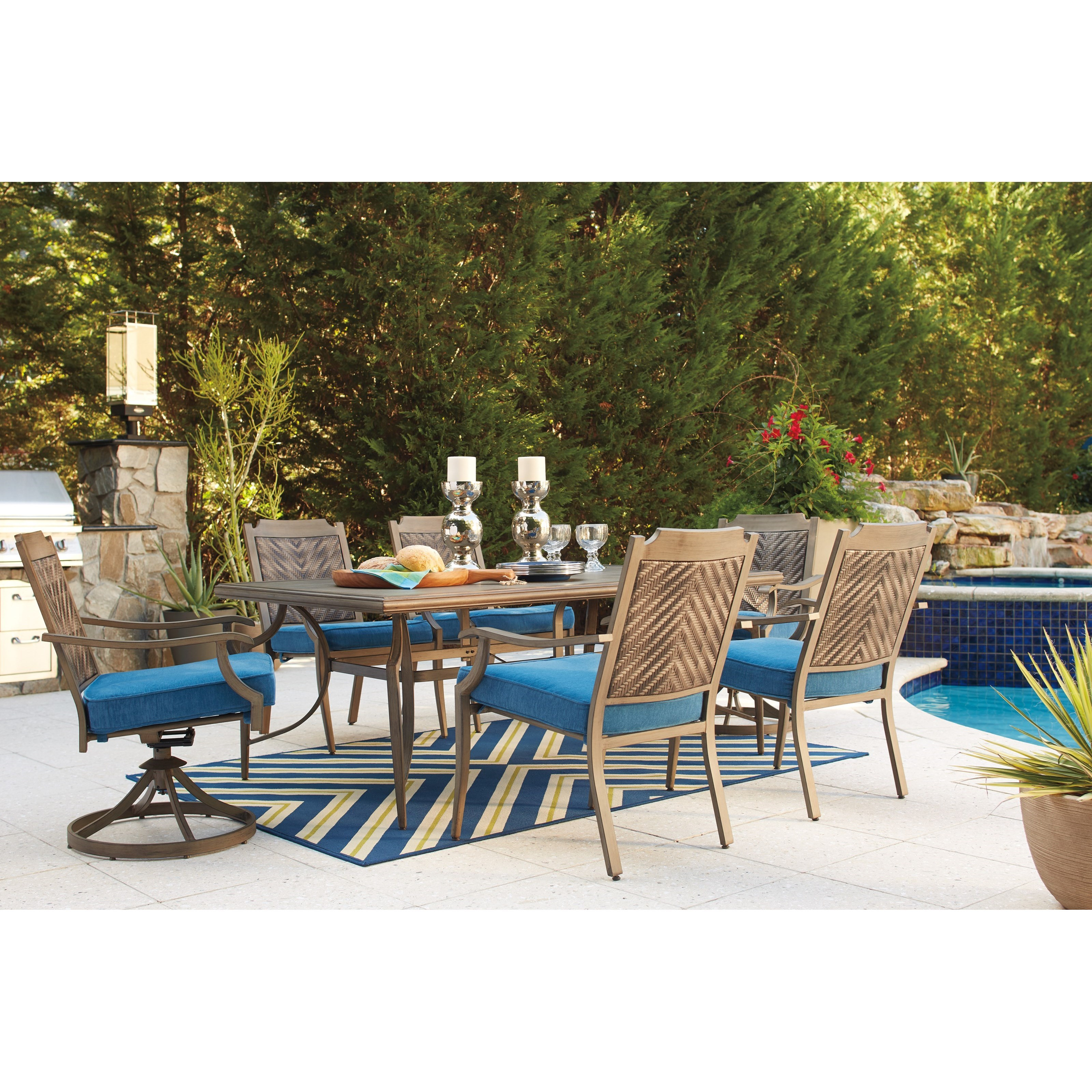 Ashley Signature Design Partanna Outdoor Dining Table Set Dunk & Bright