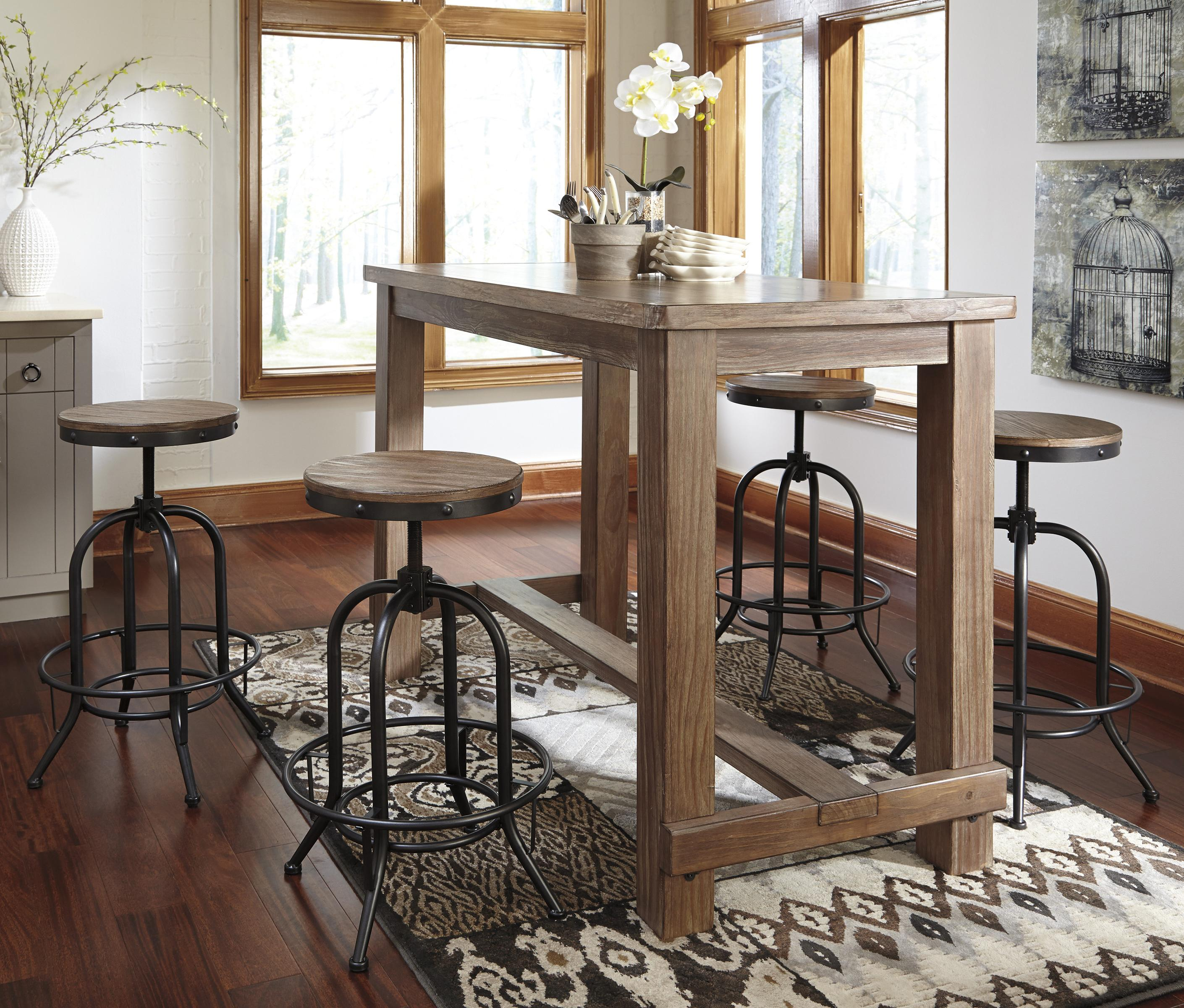 Signature design by ashley pinnadel 5 piece bar table set for Table and bar stools