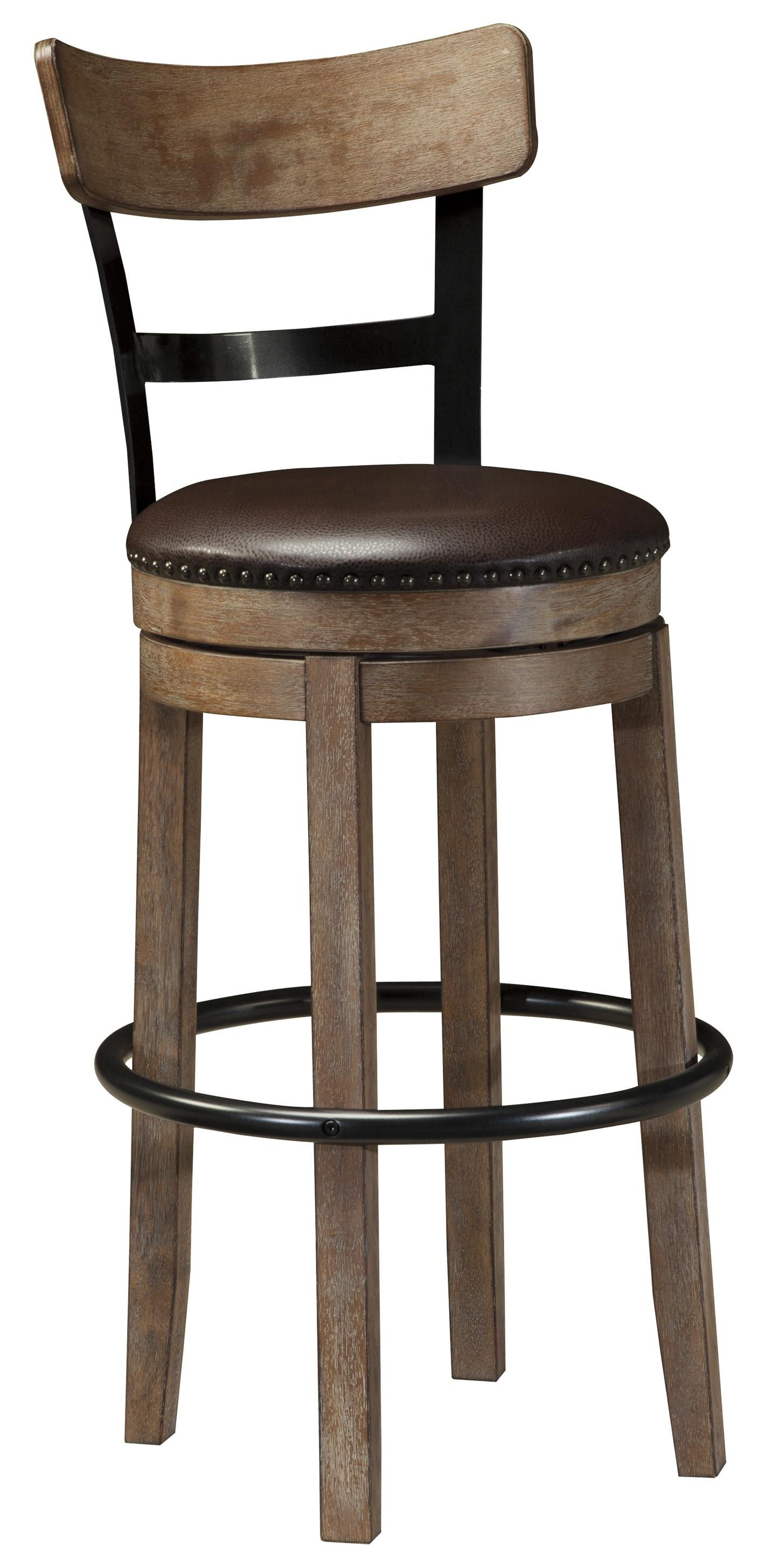 Signature Design By Ashley Pinnadel Tall Upholstered Swivel Barstool With Wood Metal Backrest