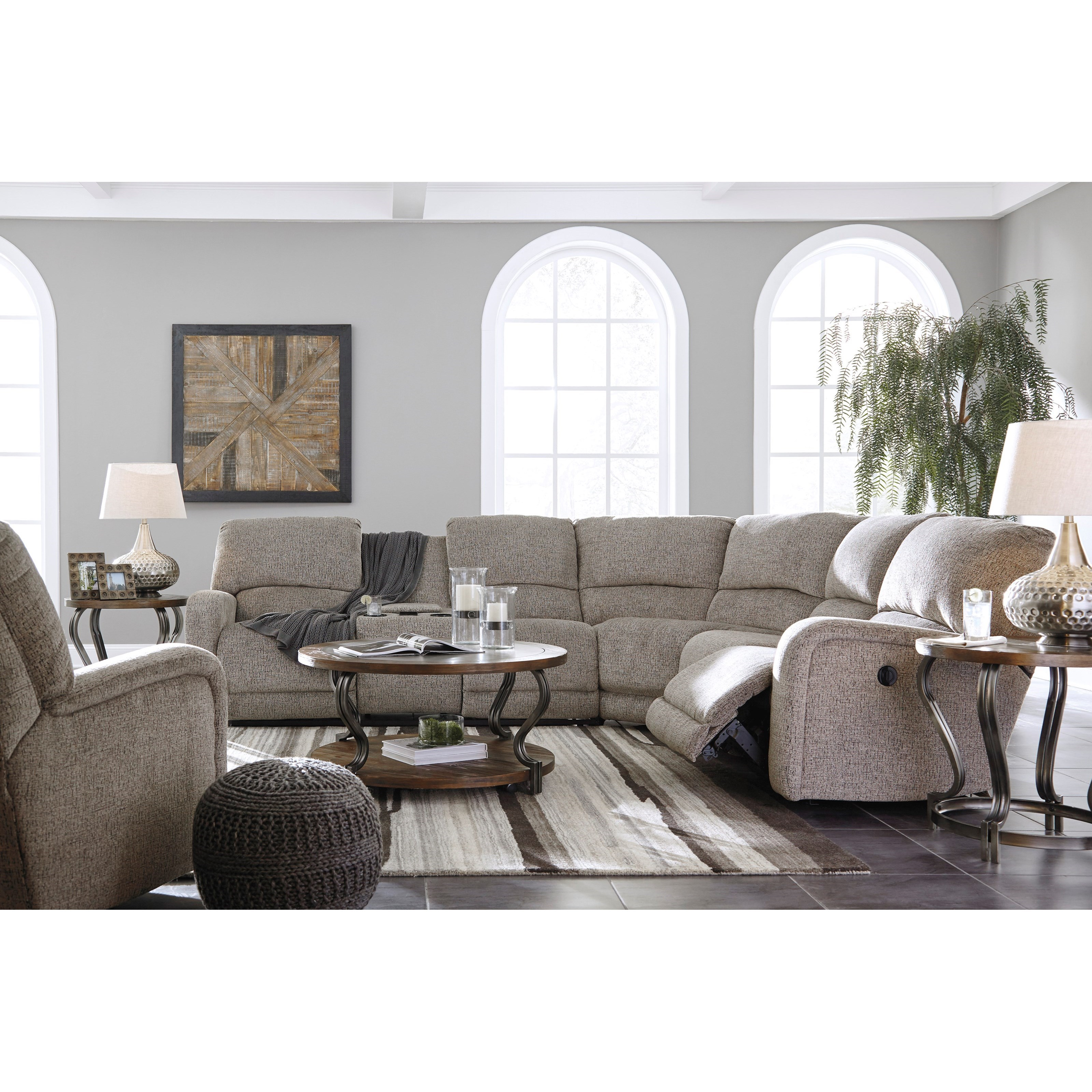 Signature design by ashley pittsfield reclining living for Living room furniture groups